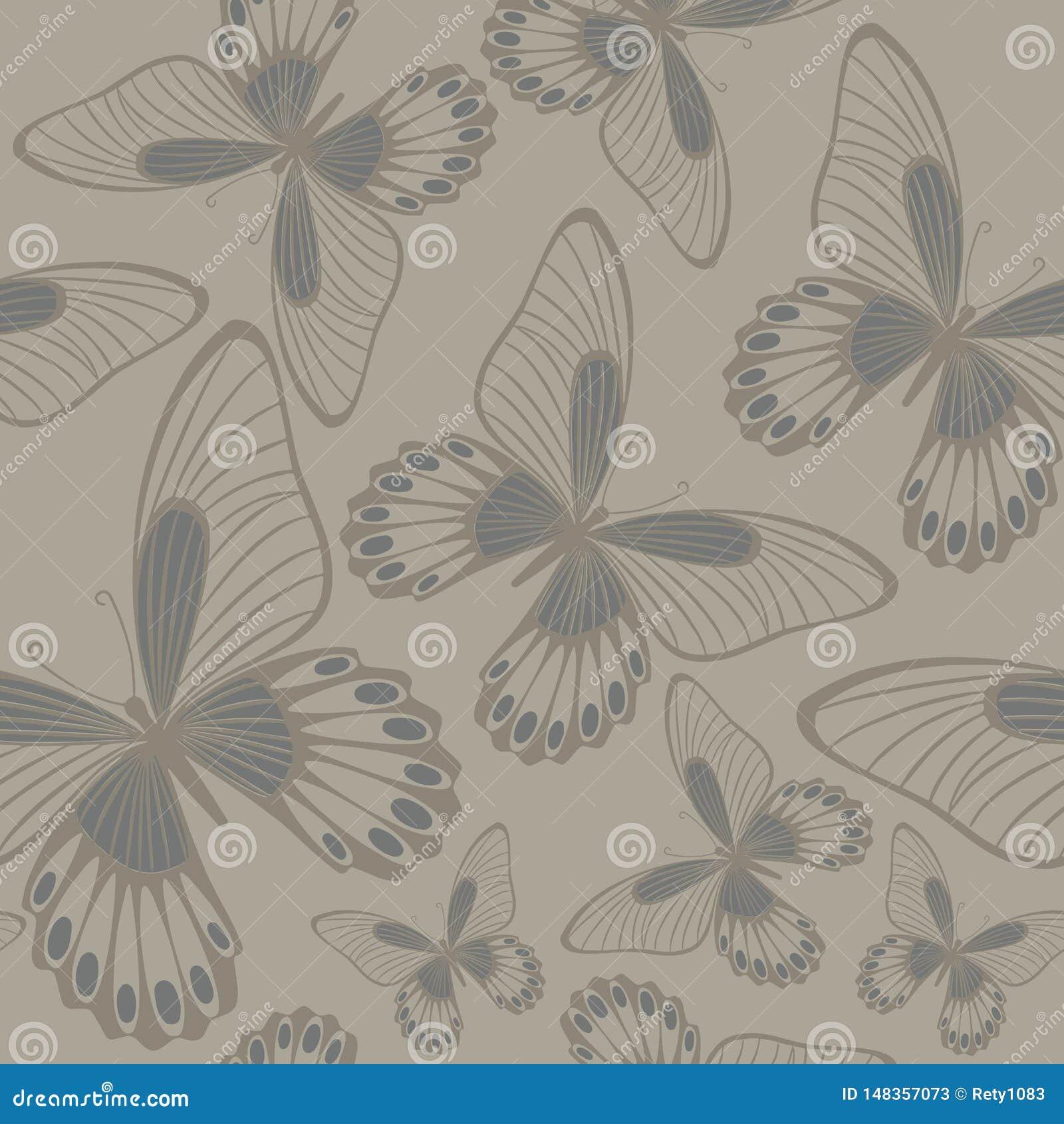 Πεταλούδες στο άνευ ραφής σχέδιο Backround κατοίκων ουδέτερης χώρας