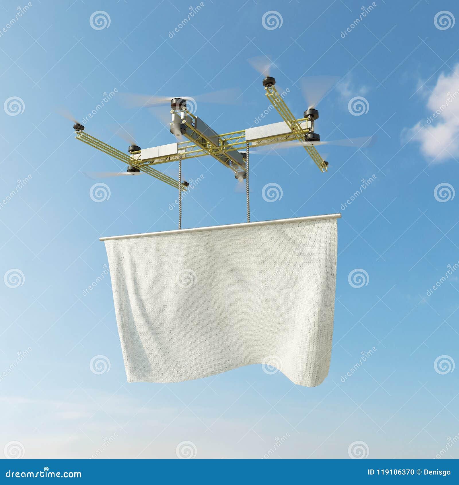 Πετώντας κηφήνας με το διάστημα αντιγράφων για το λογότυπο και το καλύπτοντας κανάλι