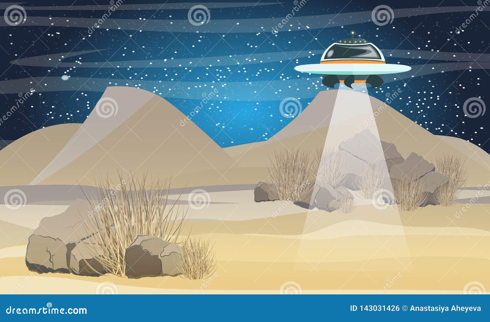 Πετώντας πιατάκι που πετά πέρα από την έρημο Διαστημικό ταξίδι έρημος Σαχάρα Η άφιξη των αλλοδαπών στη γη