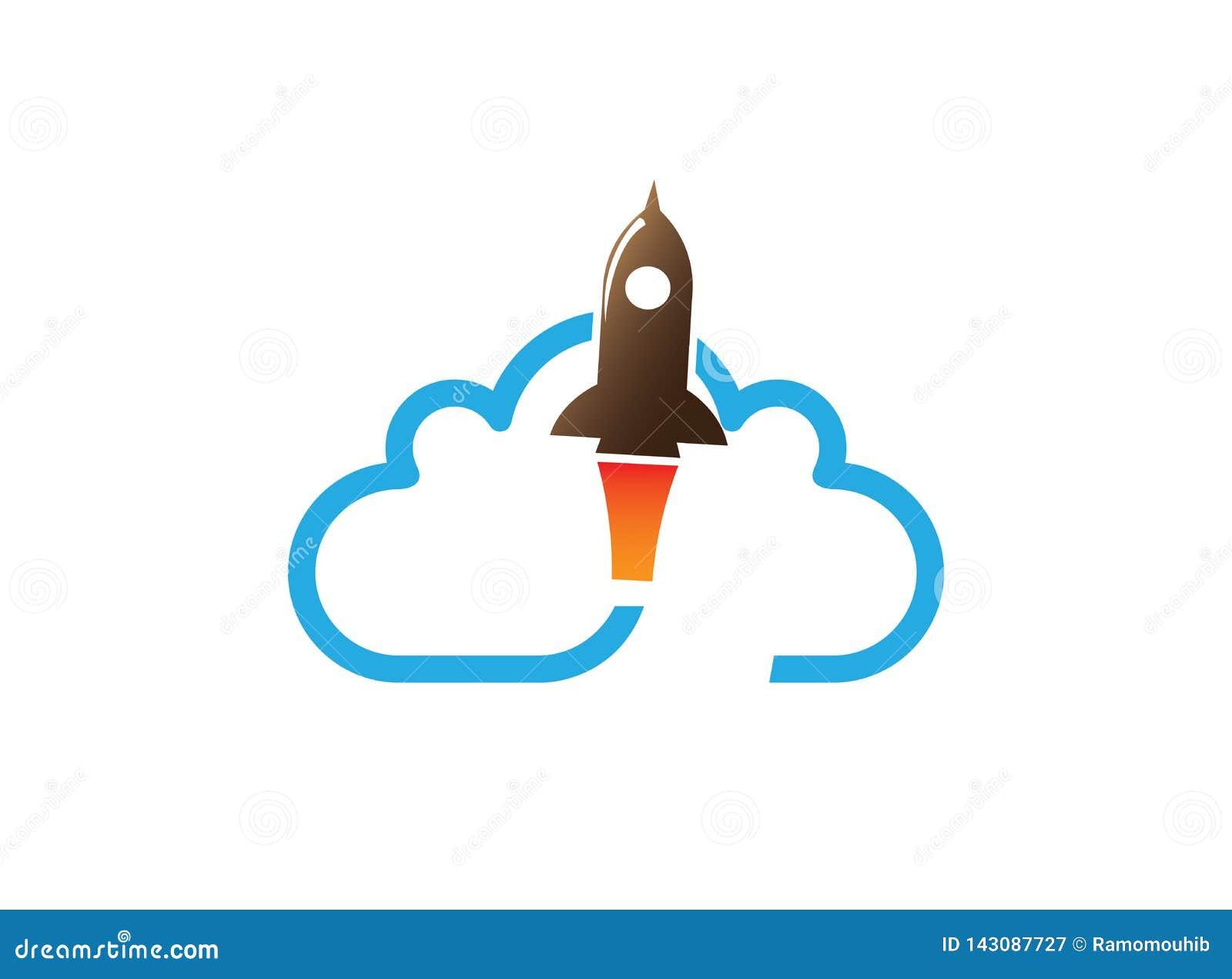 Πετώντας πύραυλος πέρα από ένα μεγάλο σύννεφο για το σχέδιο λογότυπων