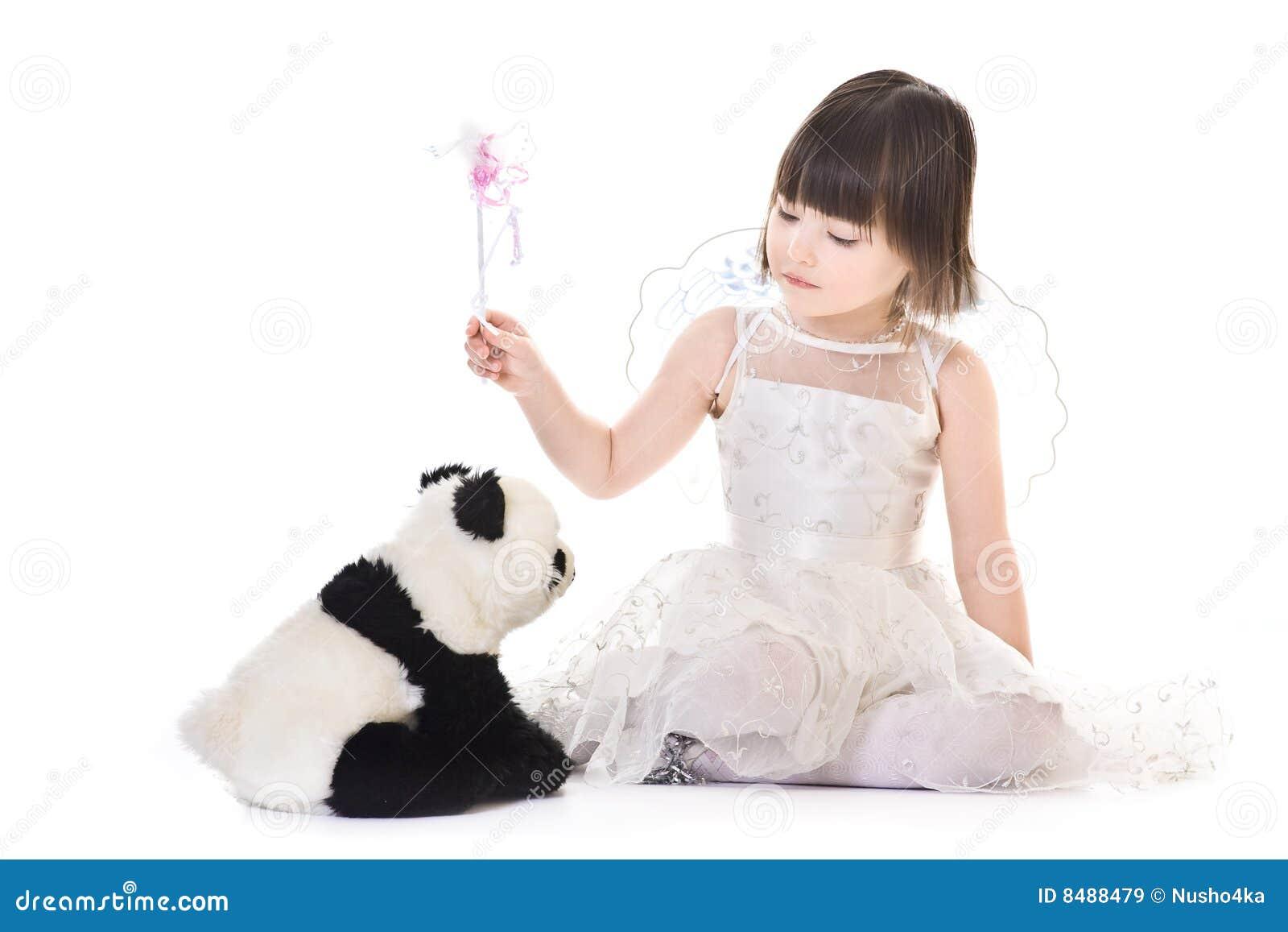 πετώντας φτερά περιόδου panda κοριτσιών αγγέλου