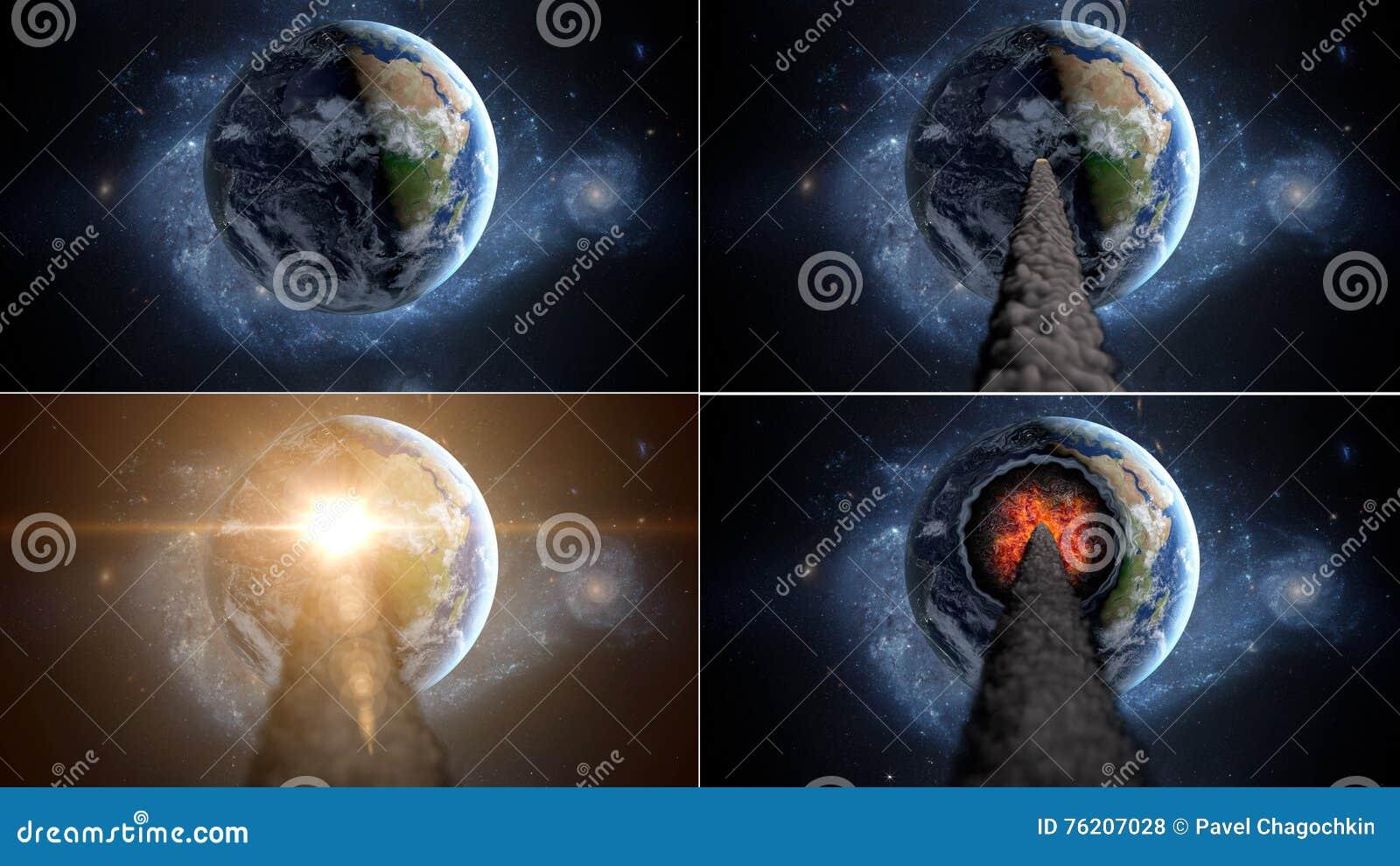 Πετώντας asteroid, μετεωρίτης στη γη περίληψη ενάντια στο θηλυκό εξωτερικό διάστημα πορτρέτου ανασκοπήσεων αρμάδων
