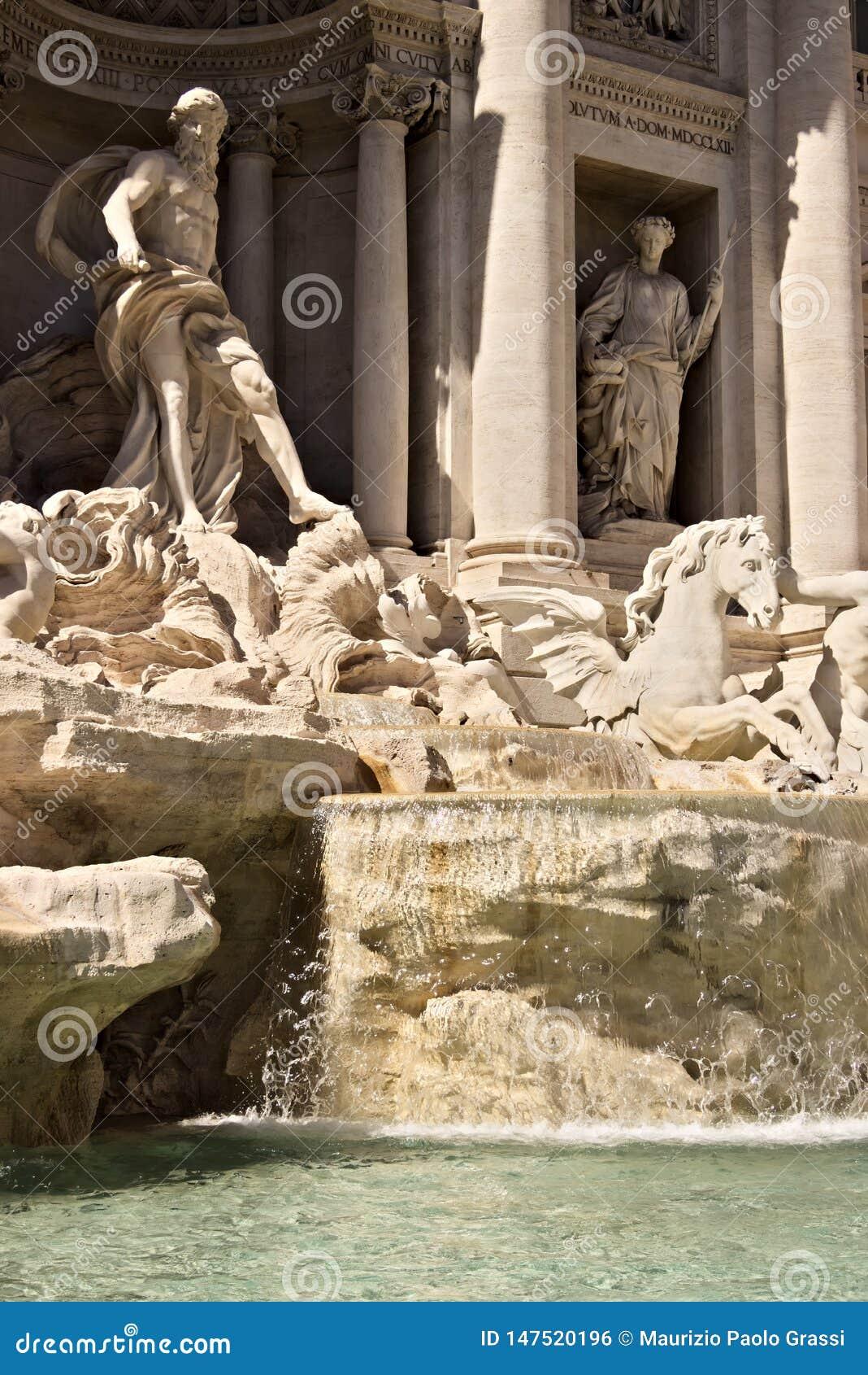 Πηγή TREVI στη Ρώμη με το γλυπτό Ποσειδώνα
