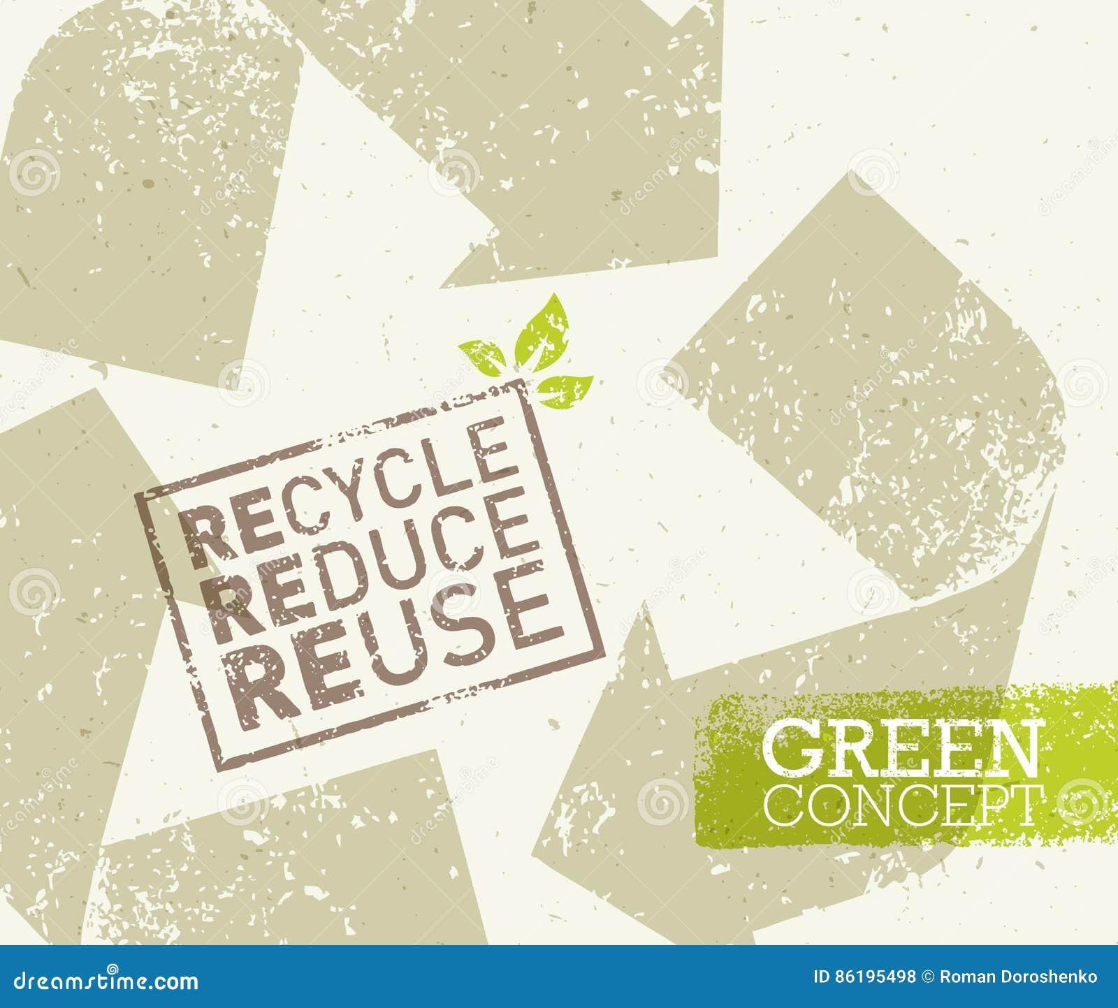 Πηγαίνετε πράσινος ανακύκλωσης μειώνει την έννοια αφισών Eco επαναχρησιμοποίησης Διανυσματική δημιουργική οργανική απεικόνιση στο