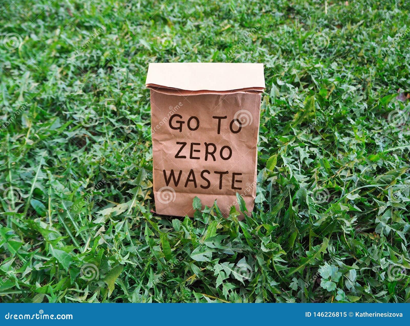 Πηγαίνετε σε μηά οικολογική τσάντα αγορών αποβλήτων στην πράσινη χλόη
