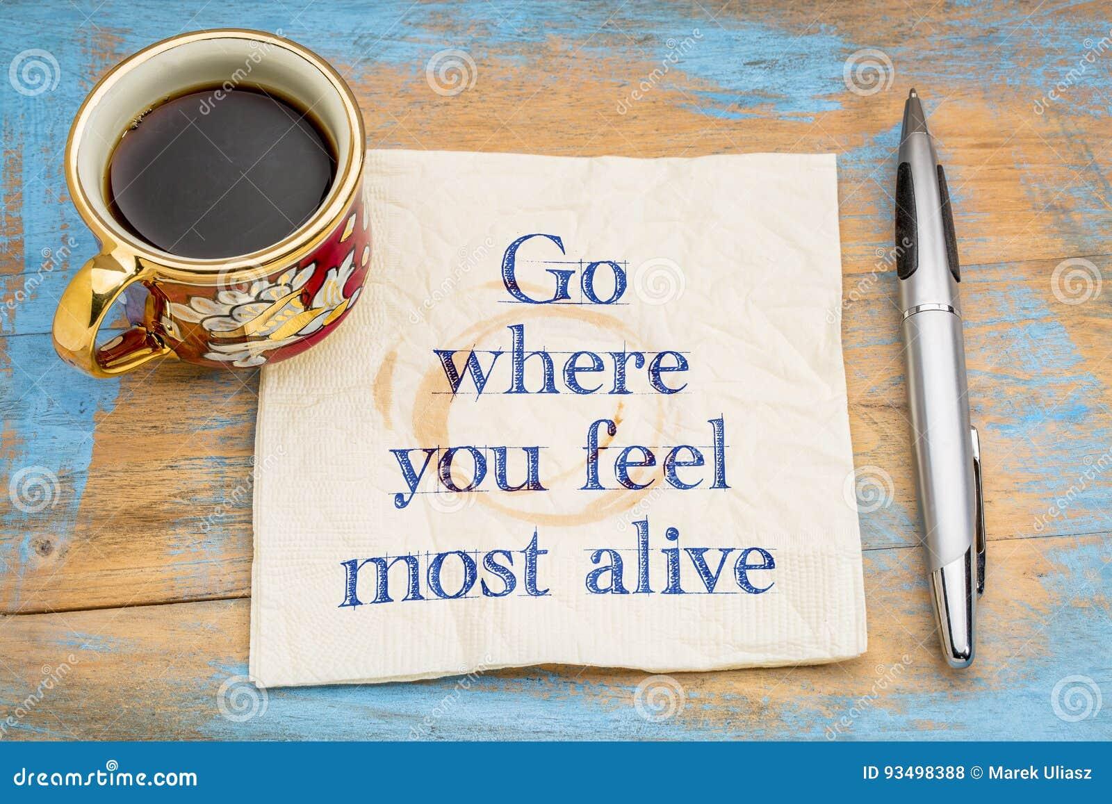 Πηγαίνετε όπου αισθάνεστε πιό ζωντανοί