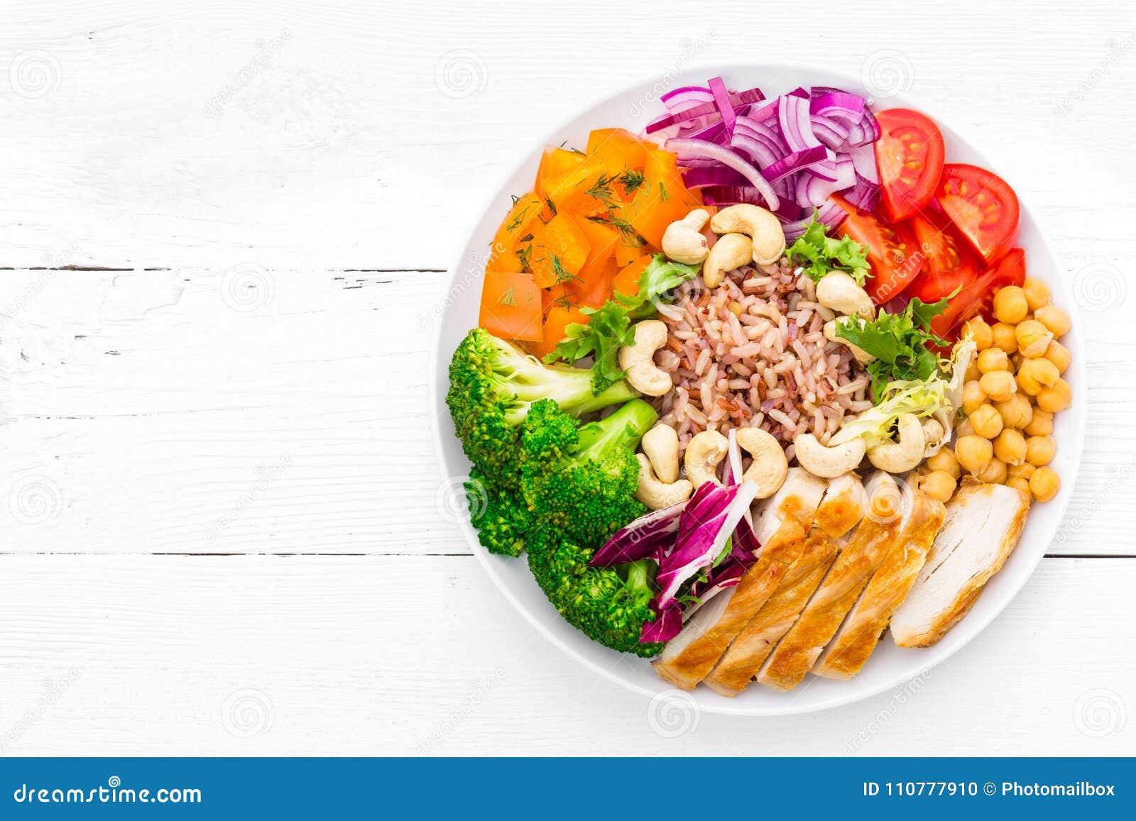 Πιάτο κύπελλων του Βούδα με τη λωρίδα κοτόπουλου, το καφετί ρύζι, το πιπέρι, την ντομάτα, το μπρόκολο, το κρεμμύδι, chickpea, τη