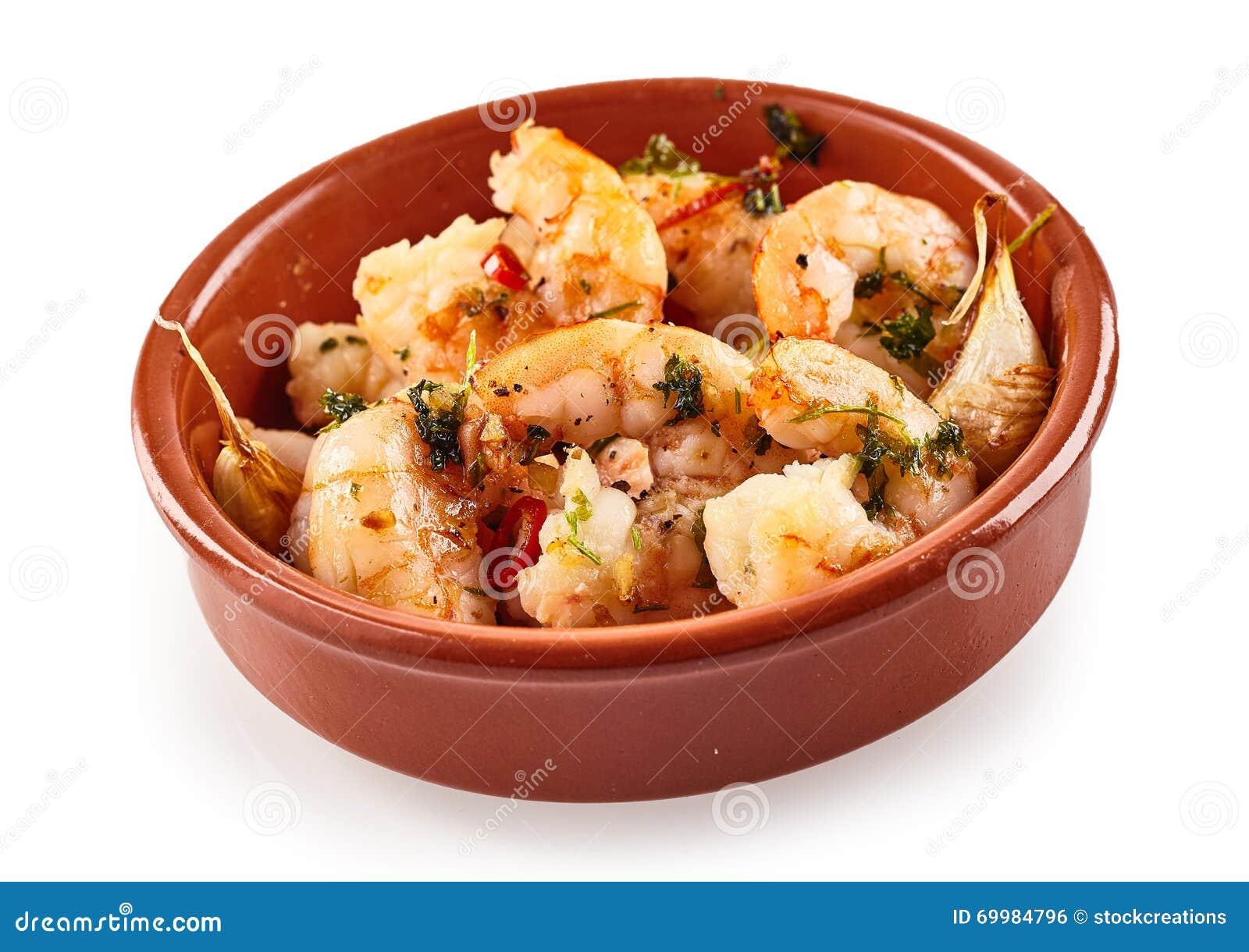 Πικάντικες ουρές γαρίδων ή γαρίδων για τα ισπανικά tapas