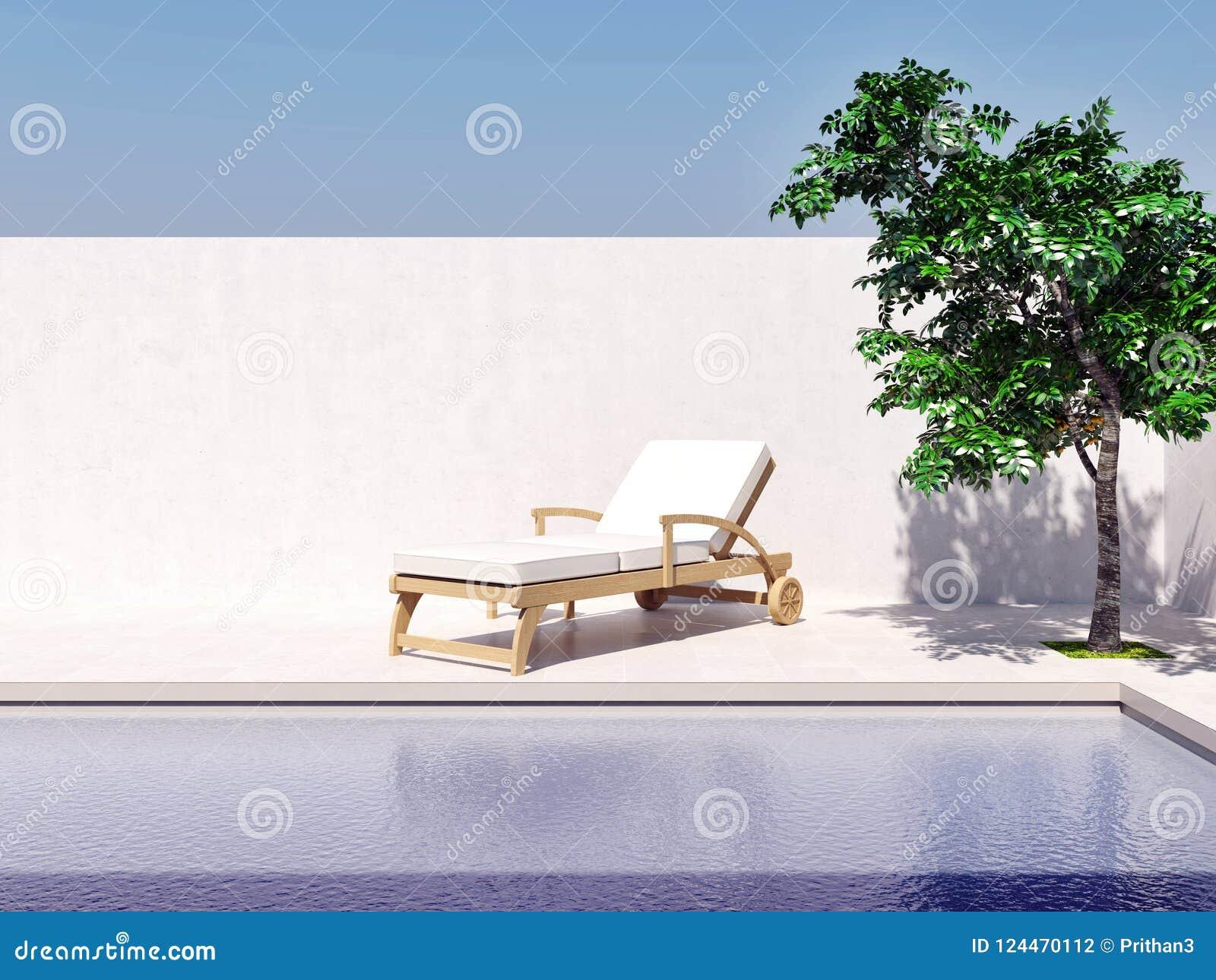 Πισίνα με την παραγμένη υπολογιστής εικόνα δέντρων ήλιων μπλε ουρανού τρισδιάστατη