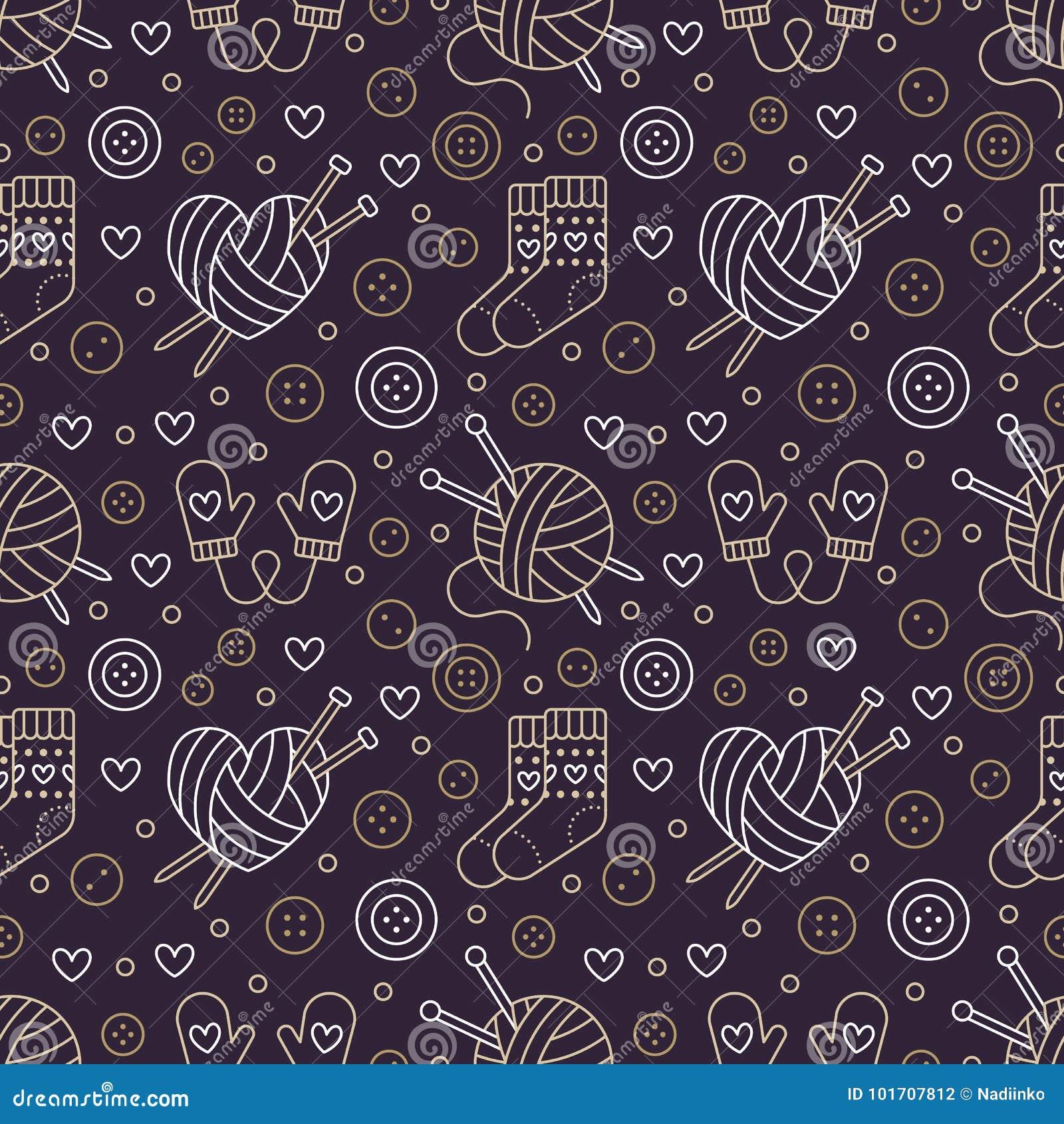 Πλέξιμο, άνευ ραφής σχέδιο τσιγγελακιών Χαριτωμένη διανυσματική επίπεδη απεικόνιση γραμμών του χεριού - γίνοντη πλέκοντας βελόνα