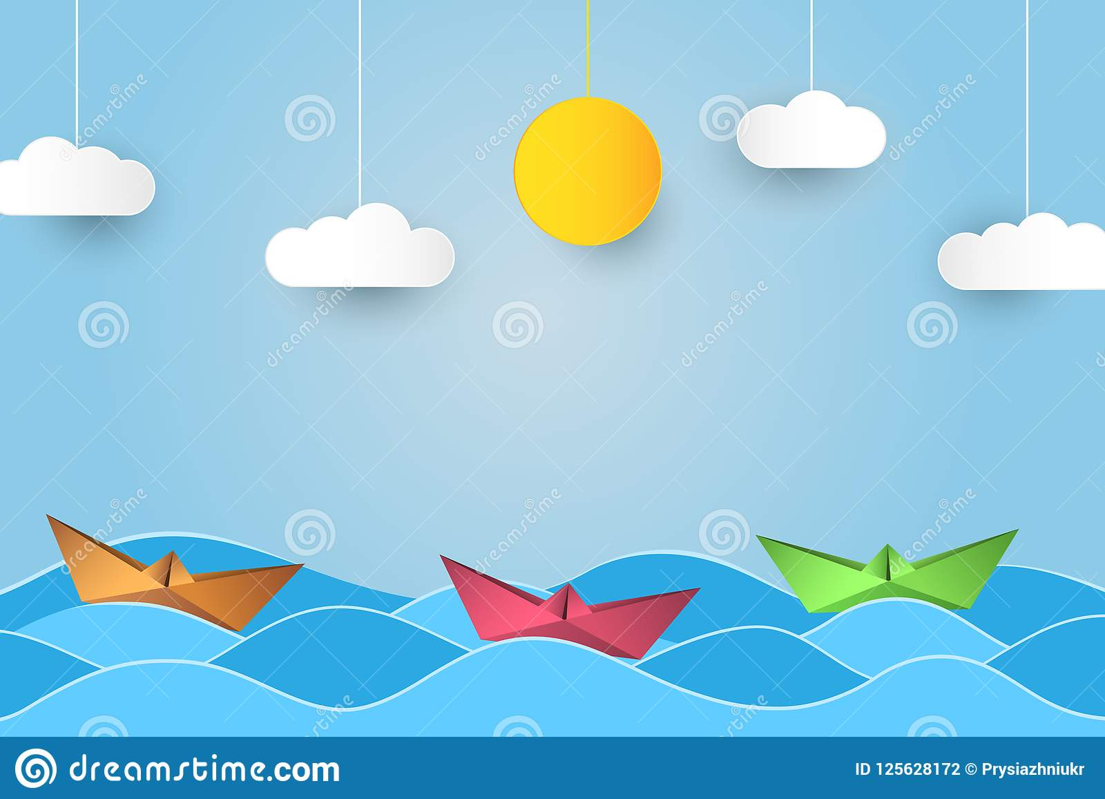 Πλέοντας βάρκα Origami στα κύματα Υπόβαθρο ύφους τέχνης εγγράφου με το σκάφος, τον ωκεανό, τον ήλιο και τα σύννεφα διάνυσμα