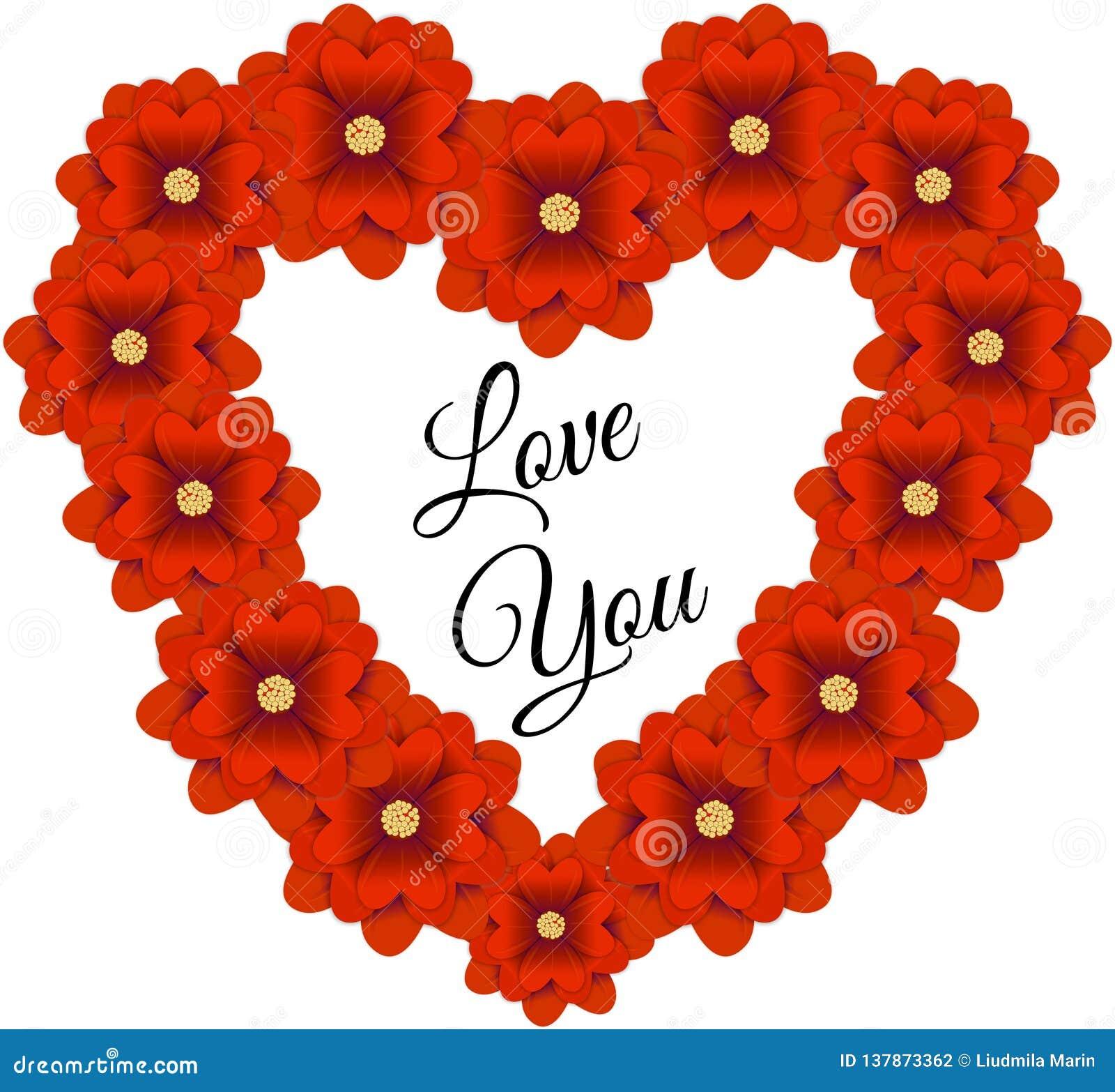 Πλαίσιο λουλουδιών με μορφή μιας καρδιάς