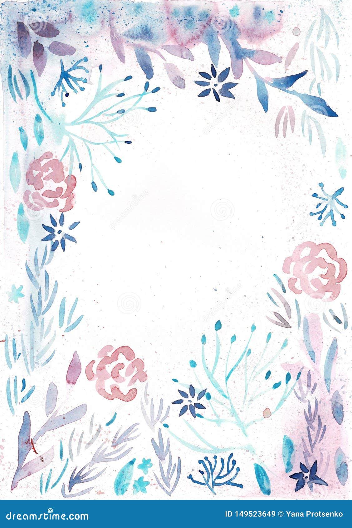Πλαίσιο με τα ρόδινα λουλούδια Watercolor και τα ανοικτό μπλε φύλλα