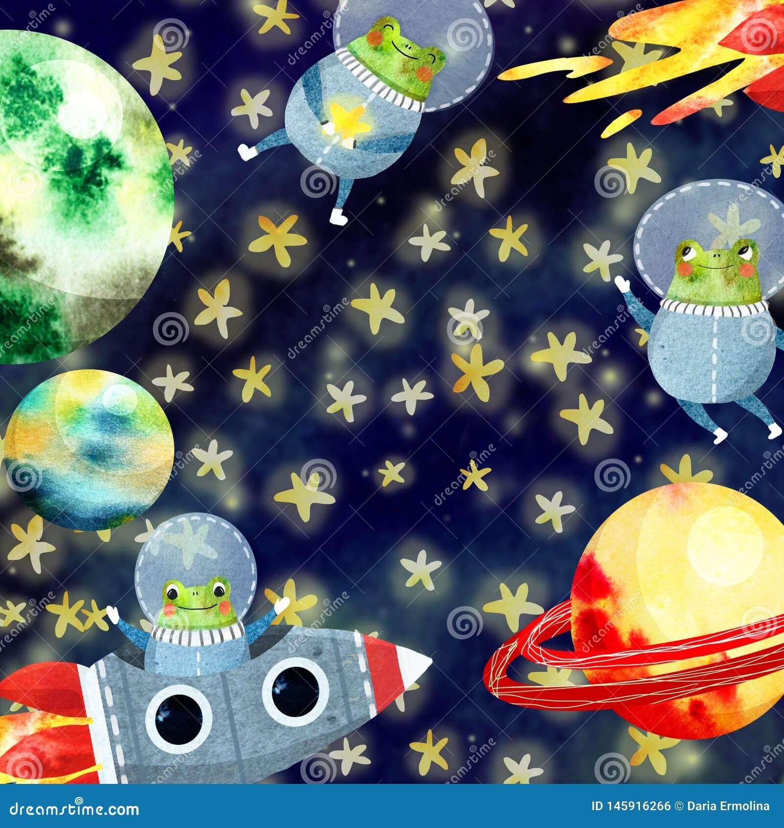 Πλαίσιο παιδιών με τους πλανήτες