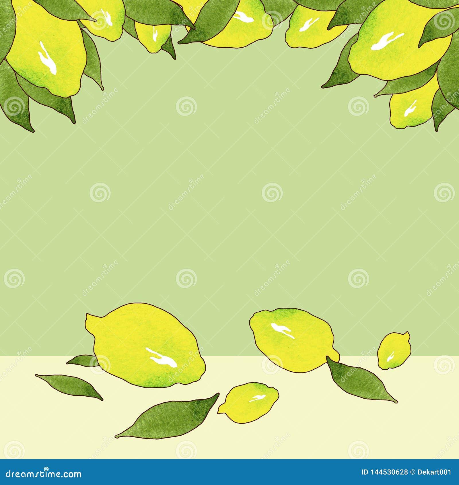 Πλαίσιο των κίτρινων φρούτων λεμονιών με τα πράσινα φύλλα που απομονώνεται στο πράσινο υπόβαθρο στο όμορφο ύφος Πρότυπο πλαισίων