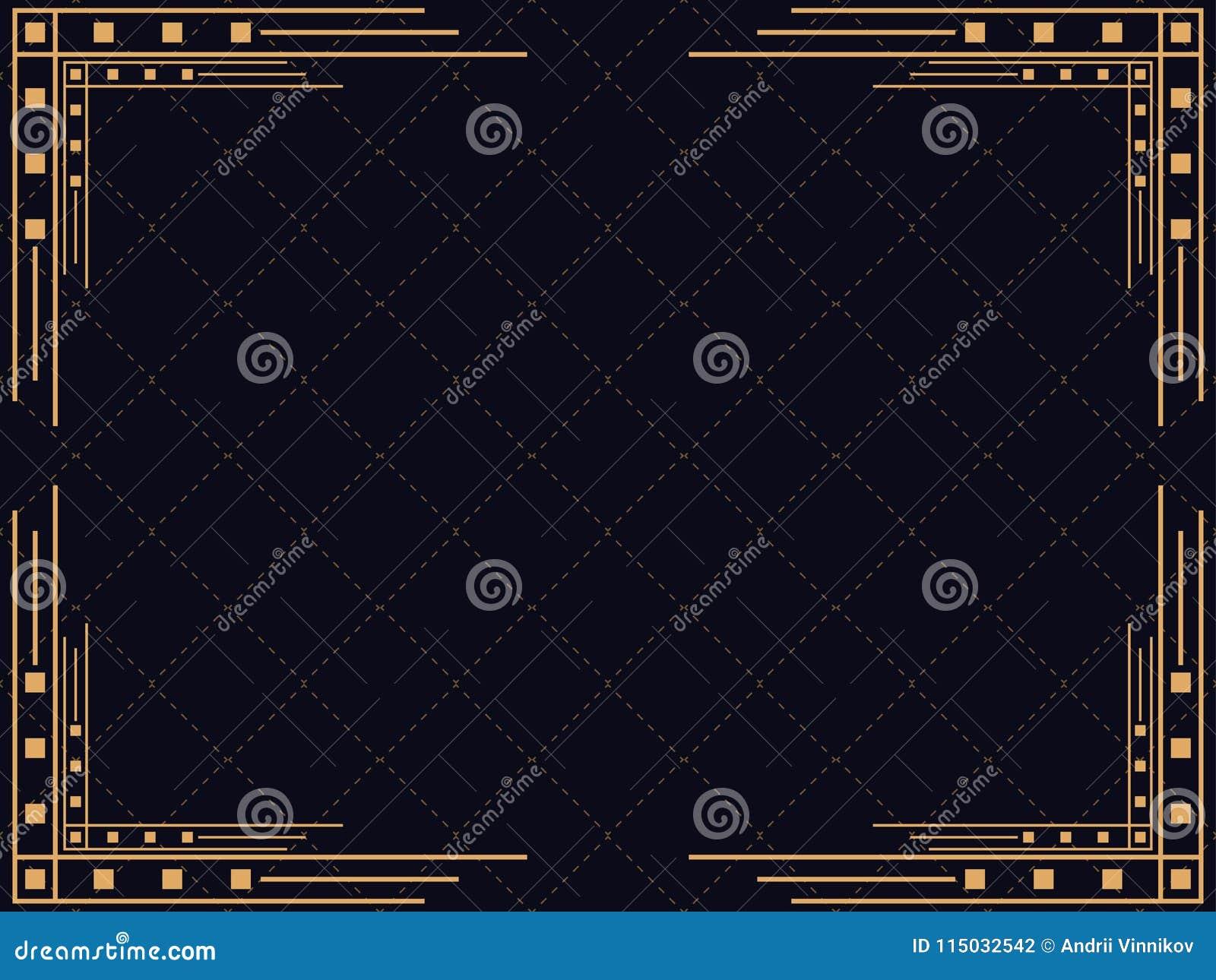 πλαίσιο deco τέχνης Εκλεκτής ποιότητας γραμμικά σύνορα Σχεδιάστε ένα πρότυπο για τις προσκλήσεις, τα φυλλάδια και τις ευχετήριες
