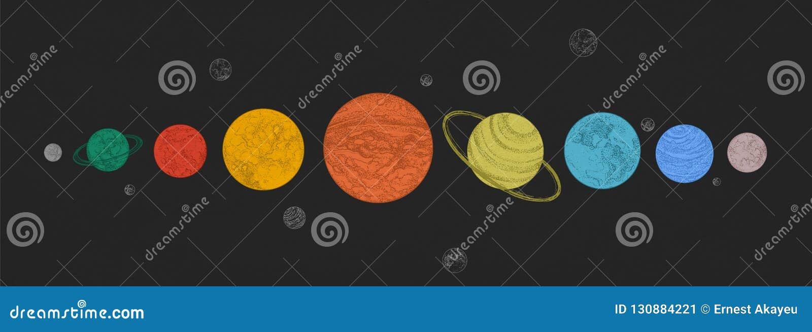 Πλανήτες του ηλιακού συστήματος που τακτοποιούνται στην οριζόντια σειρά στο μαύρο κλίμα Ουράνιοι οργανισμοί στο μακρινό διάστημα
