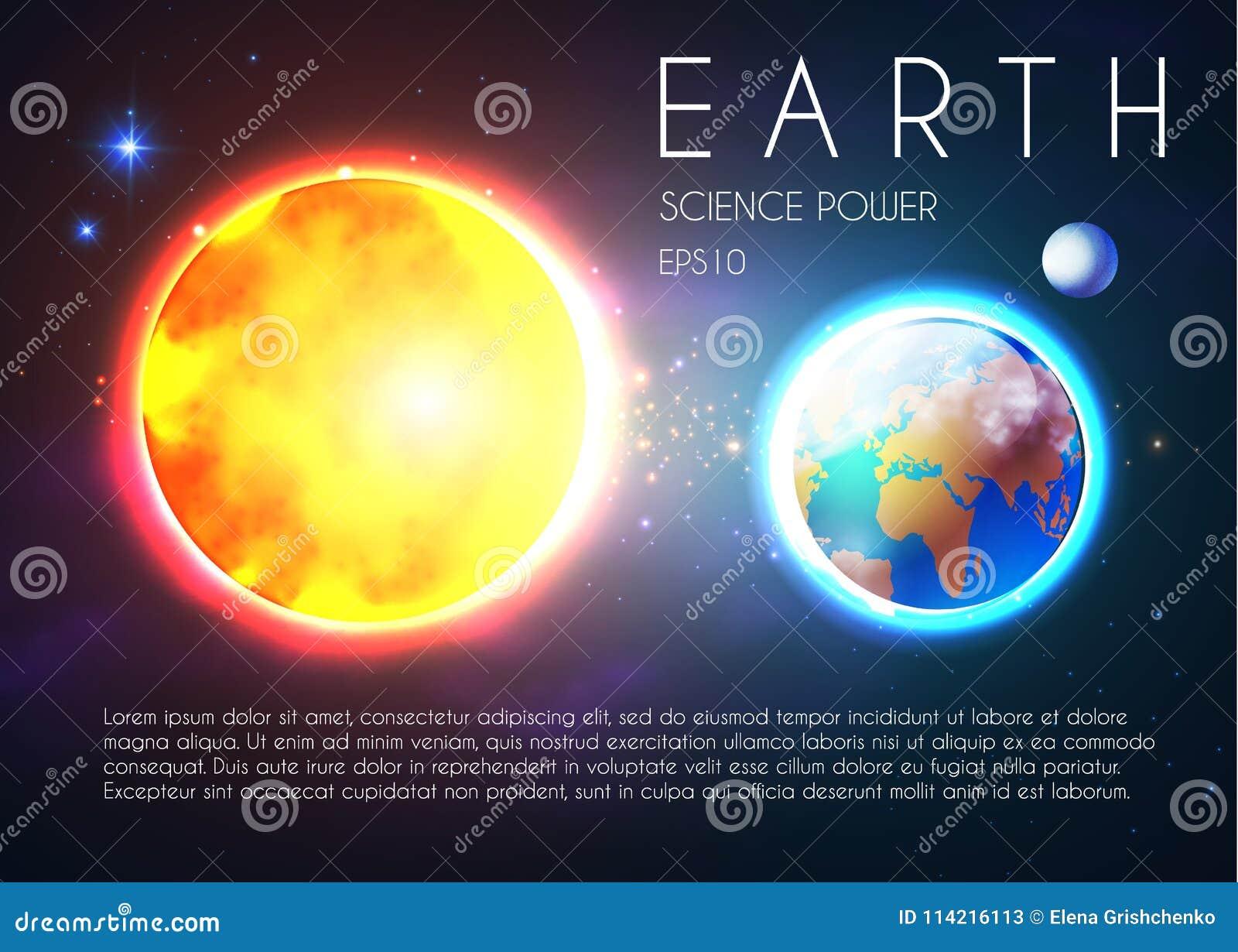 Πλανήτης Γη και λάμποντας ήλιος στο διάστημα με τα αστέρια Univerce nackground Ρεαλιστικό ουράνιο σχέδιο
