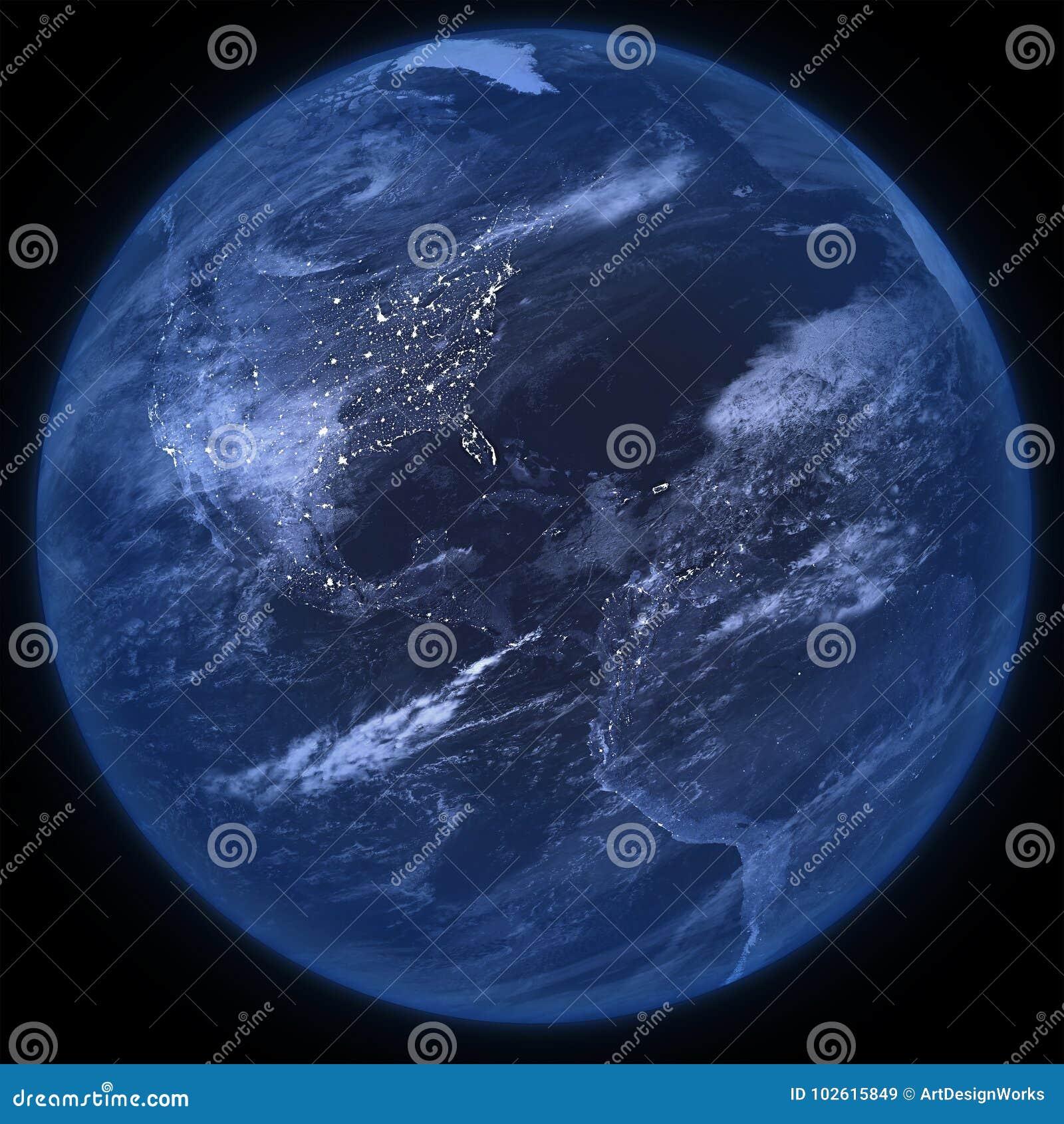 Πλανήτης Γη νύχτας που απομονώνεται - PNG