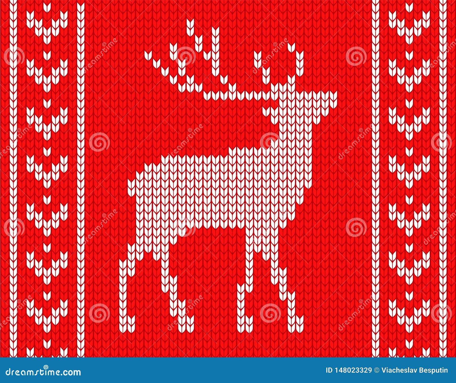 Πλεκτά ελάφια με τα σχέδια στις πλευρές στο ύφος του πλεκτού πουλόβερ