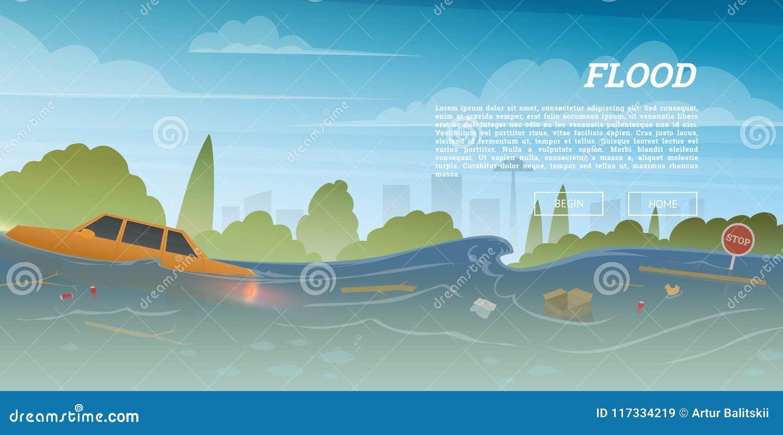 Πλημμύρα ή φυσική καταστροφή στην έννοια πόλεων Επιπλέοντα απορρίματα και αυτοκίνητο κατά τη διάρκεια του κατακλυσμού στο απόγειο