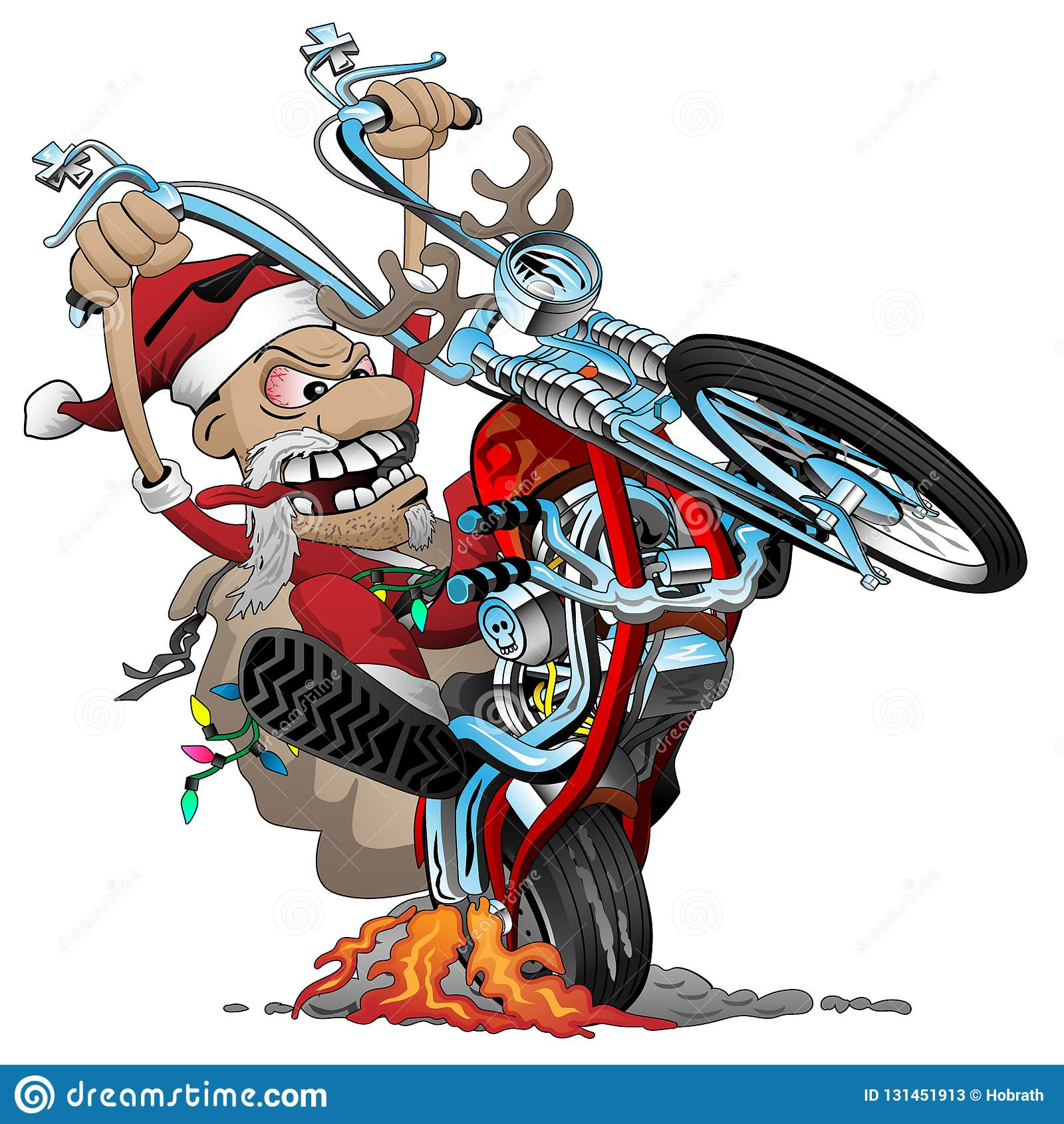 Ποδηλάτης Santa σε μια αμερικανική μοτοσικλέτα μπαλτάδων ύφους, που σκάει ένα wheelie, διανυσματική απεικόνιση κινούμενων σχεδίων