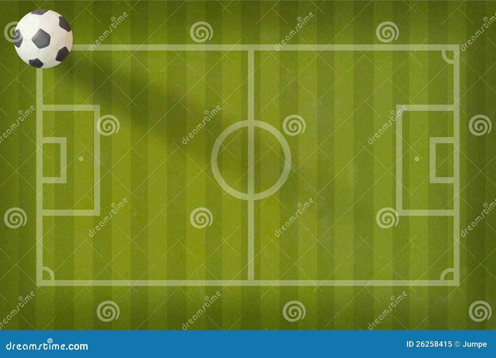 Ποδόσφαιρο ποδοσφαίρου Plasticine στο πεδίο εγγράφου