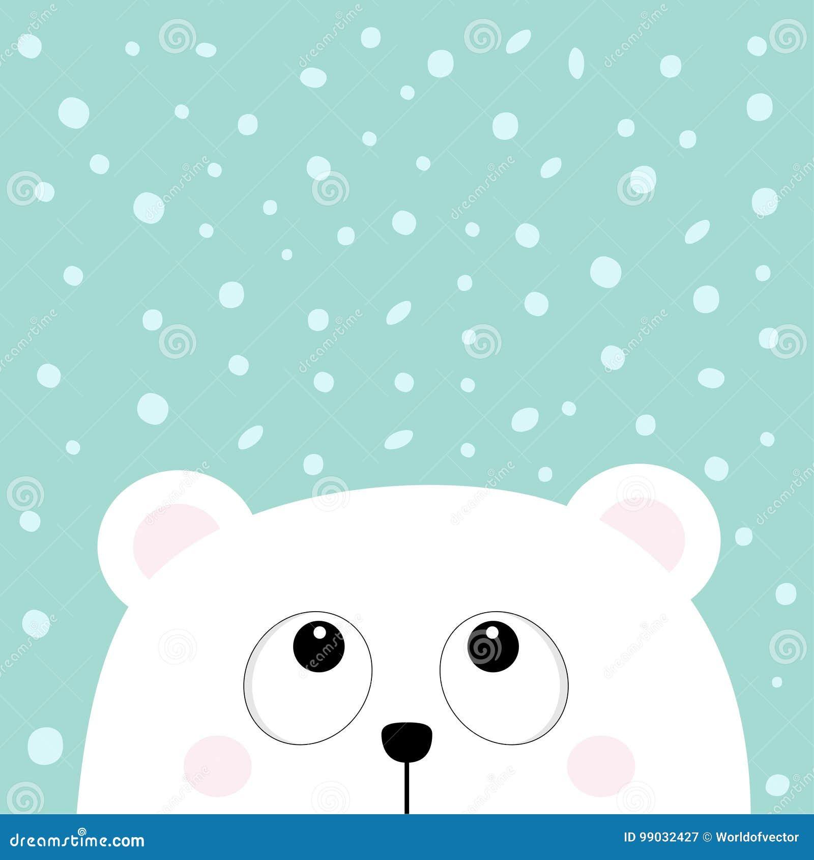 Πολικός άσπρος λίγα μικρά αντέχει cub το επικεφαλής πρόσωπο ανατρέχοντας στη νιφάδα χιονιού