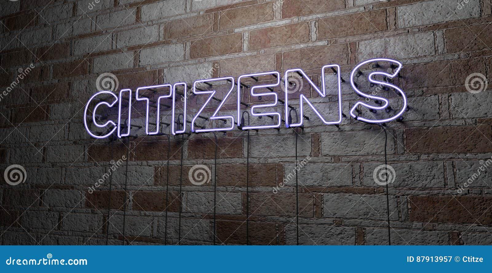 ΠΟΛΙΤΕΣ - Καμμένος σημάδι νέου στον τοίχο τοιχοποιιών - τρισδιάστατο δικαίωμα ελεύθερη απεικόνιση αποθεμάτων