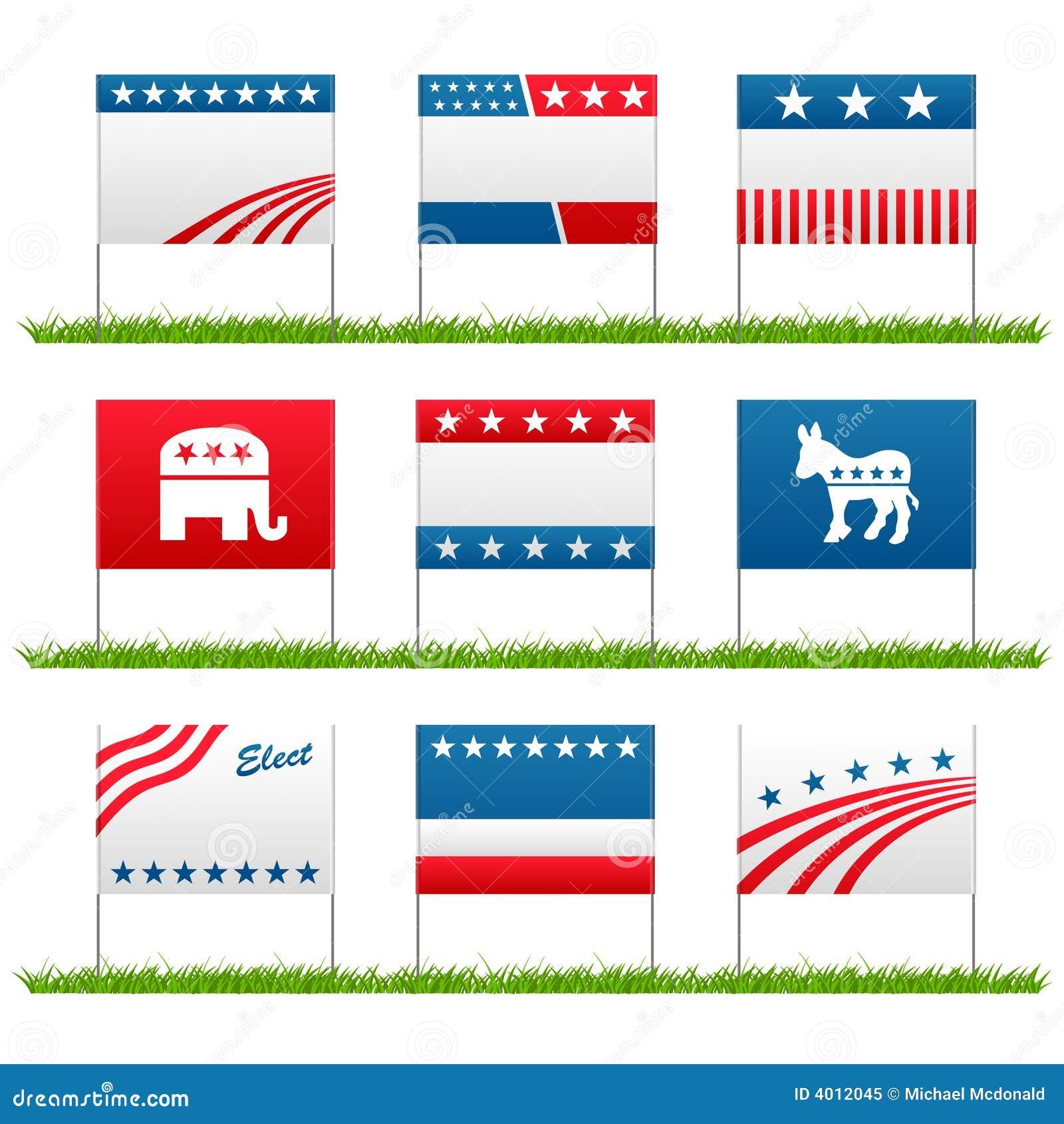 πολιτική αυλή σημαδιών εκλογής εκστρατείας
