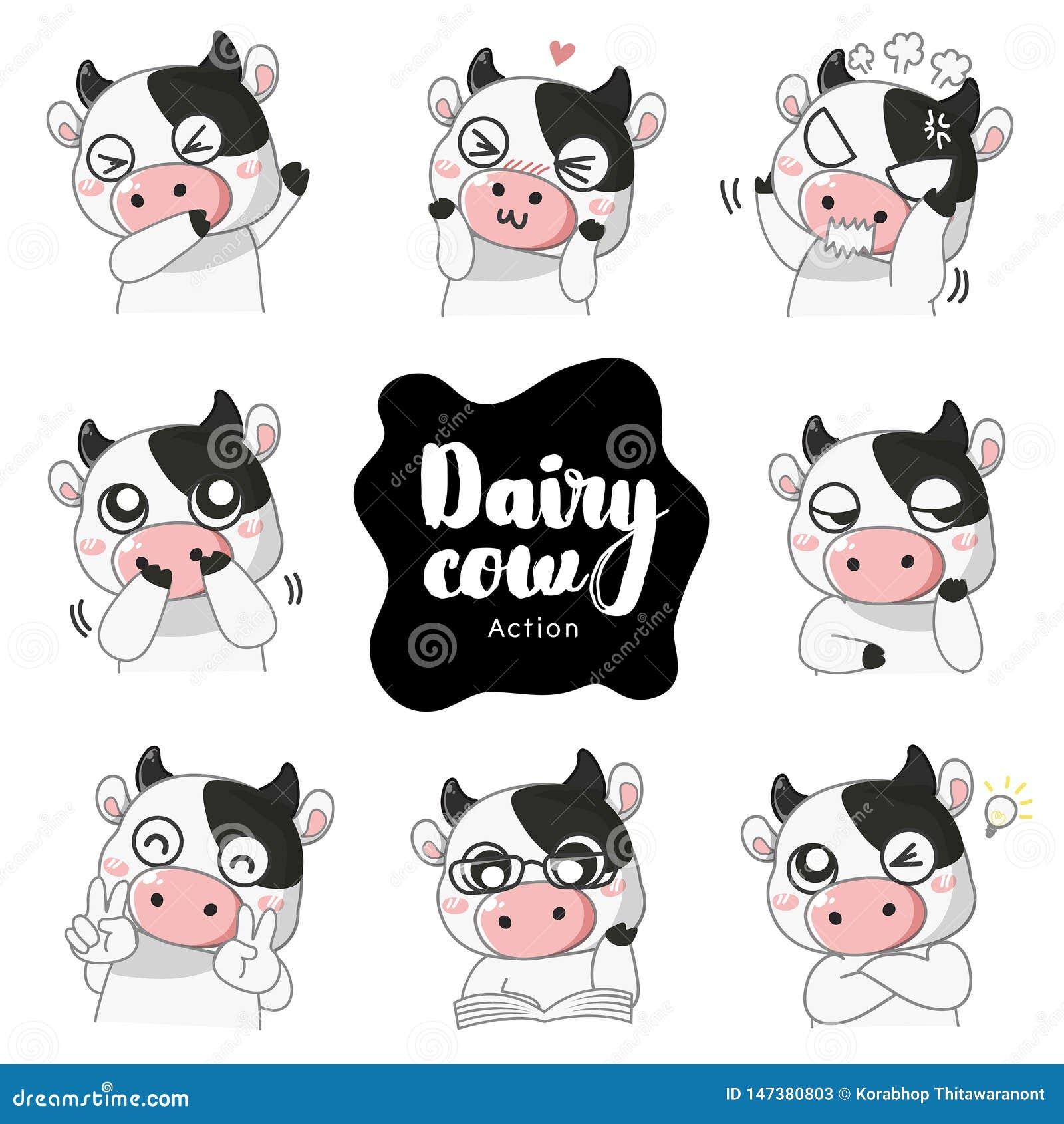 Πολλοί χαριτωμένη γαλακτοκομική αγελάδα συγκίνησης μασκότ