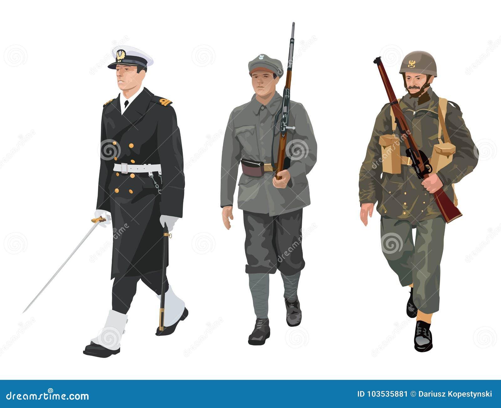 a67e1775016 Πολωνικές στολές στρατού διανυσματική απεικόνιση. εικονογραφία από ...
