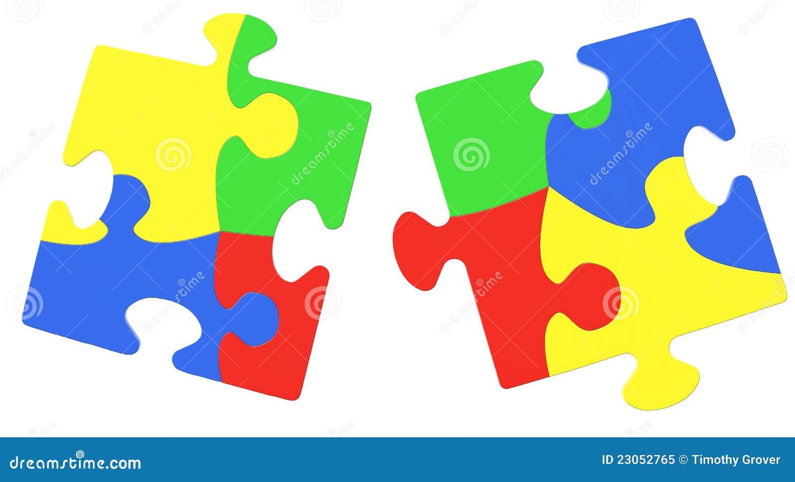 Πολύχρωμα κομμάτια γρίφων που συμβολίζουν τη συνειδητοποίηση αυτισμού