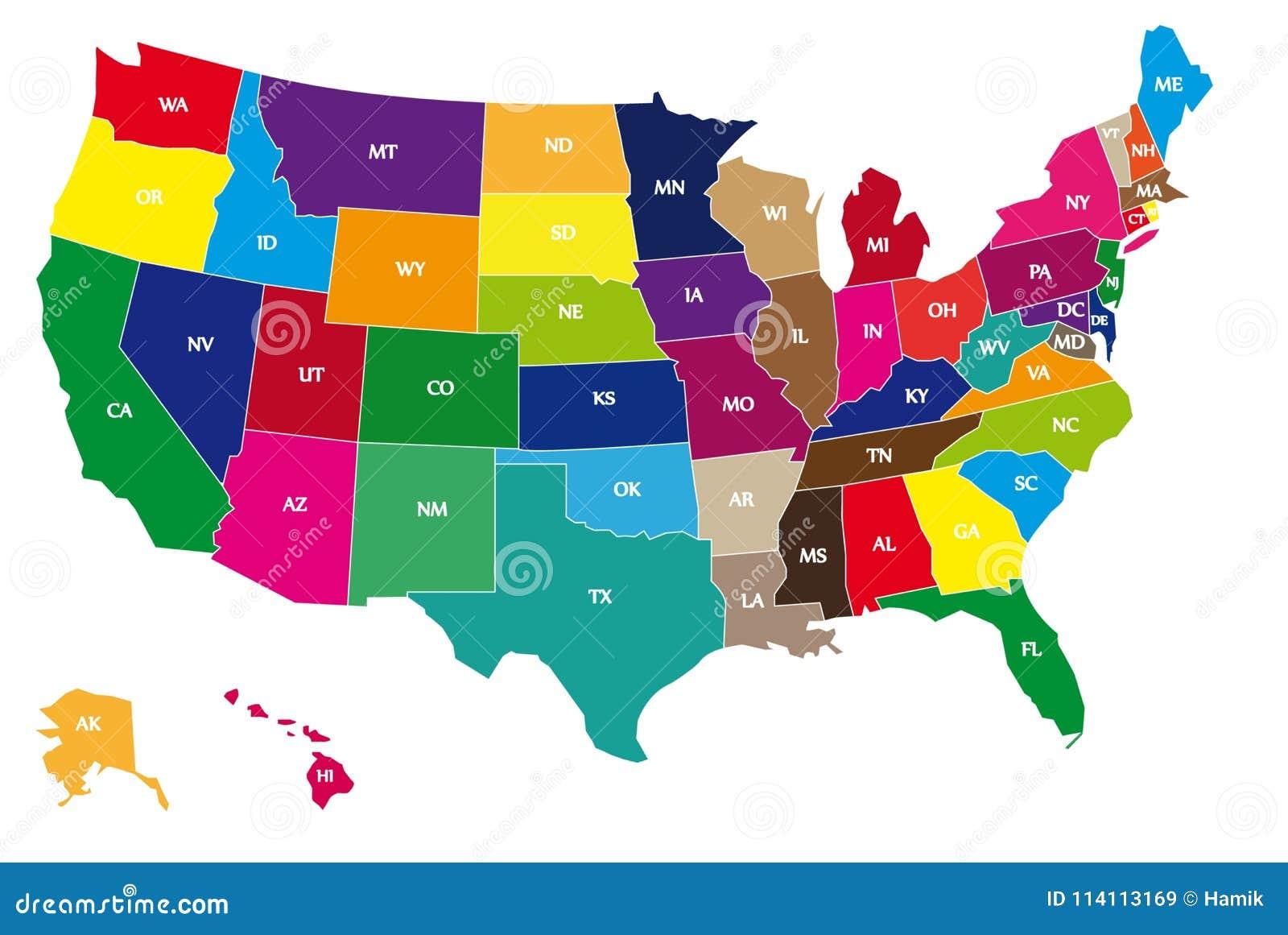 Πολύχρωμος ΑΜΕΡΙΚΑΝΙΚΟΣ οριοθετώντας χάρτης στο άσπρο υπόβαθρο
