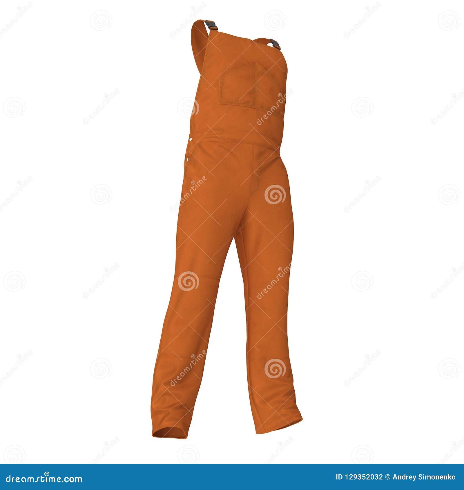 Πορτοκαλής συνολικά για τον εργάτη στο άσπρο υπόβαθρο απεικόνιση, που απομονώνεται τρισδιάστατη