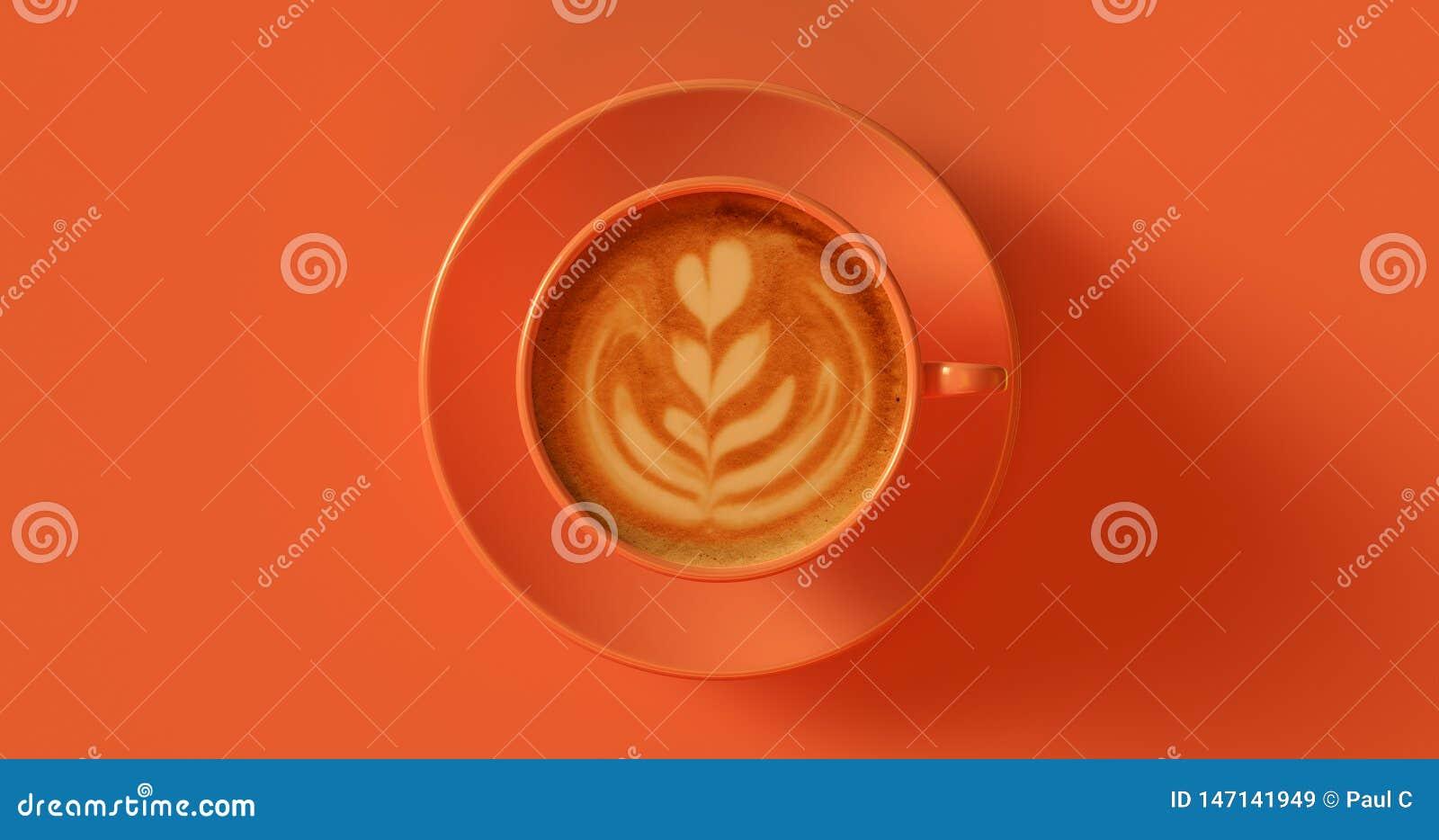 Πορτοκαλιά τοπ άποψη Cappuccino φλυτζανιών καφέ ροδάκινων με το στρόβιλο