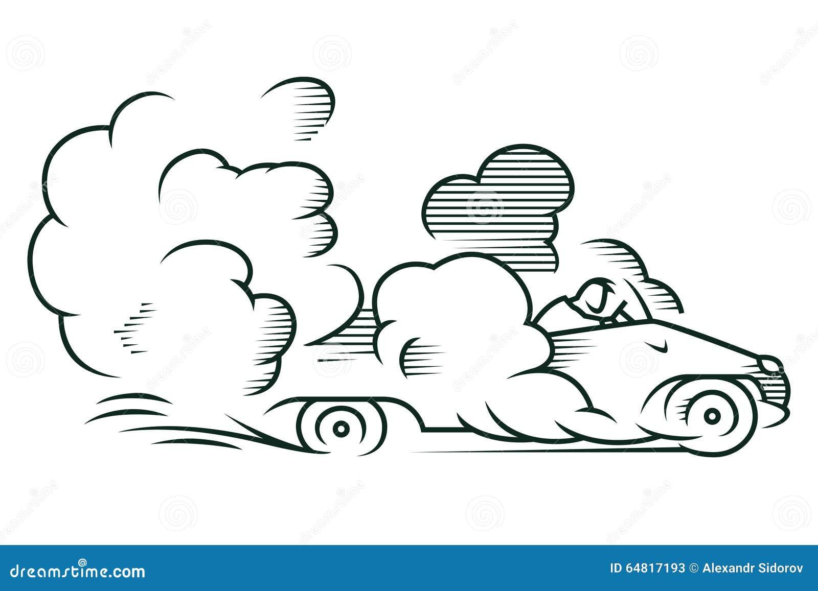 πορτοκαλί απόθεμα απεικόνισης ανασκόπησης φωτεινό Αυτοκίνητο που οδηγά γρήγορα σε ένα σύννεφο της σκόνης