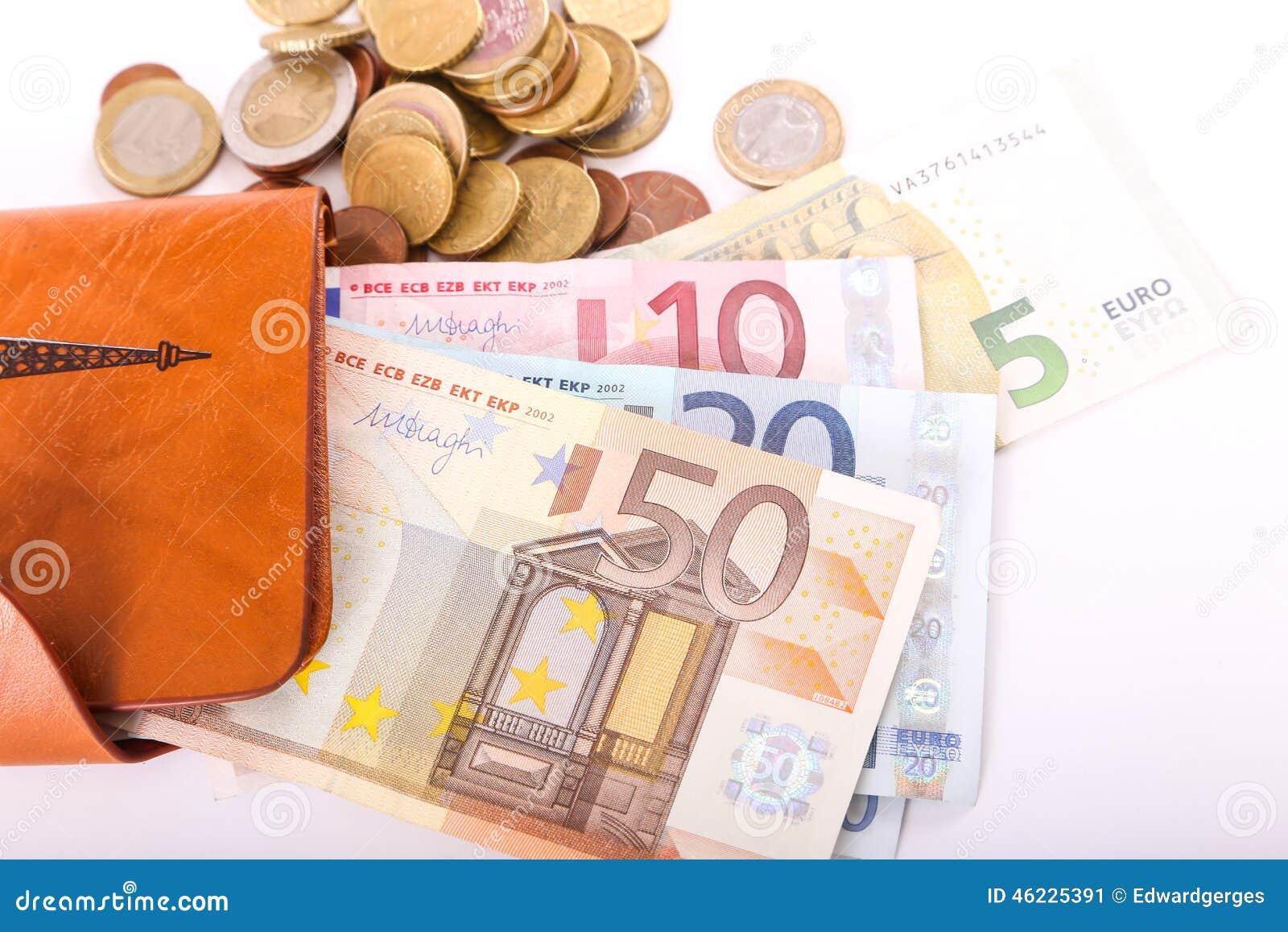 Πορτοφόλι και ευρώ δέρματος