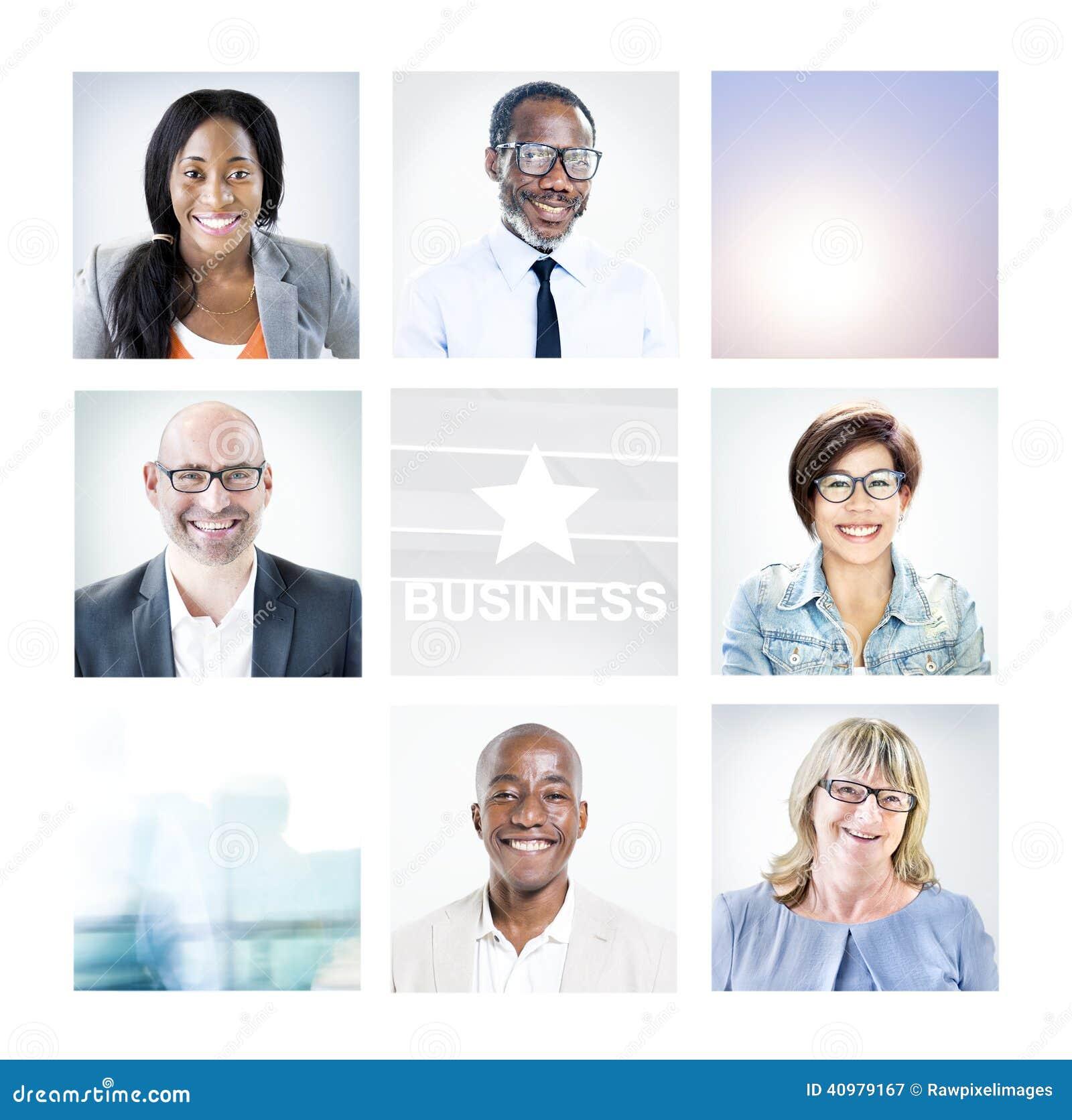 Πορτρέτα των διαφορετικών επιχειρηματιών Multiethnic
