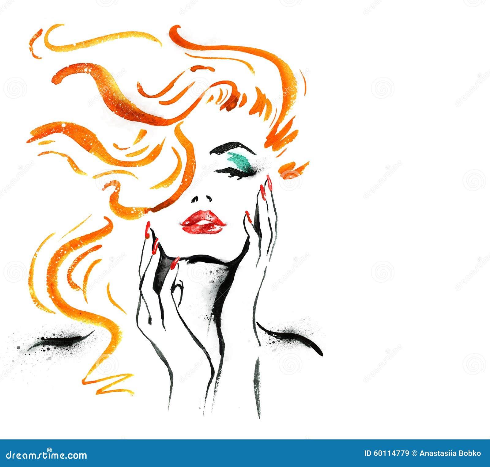 Πορτρέτο γυναικών με το χέρι αφηρημένο watercolor Απεικόνιση μόδας Κόκκινη ζωγραφική watercolor χειλιών και καρφιών Καλλυντικά ad