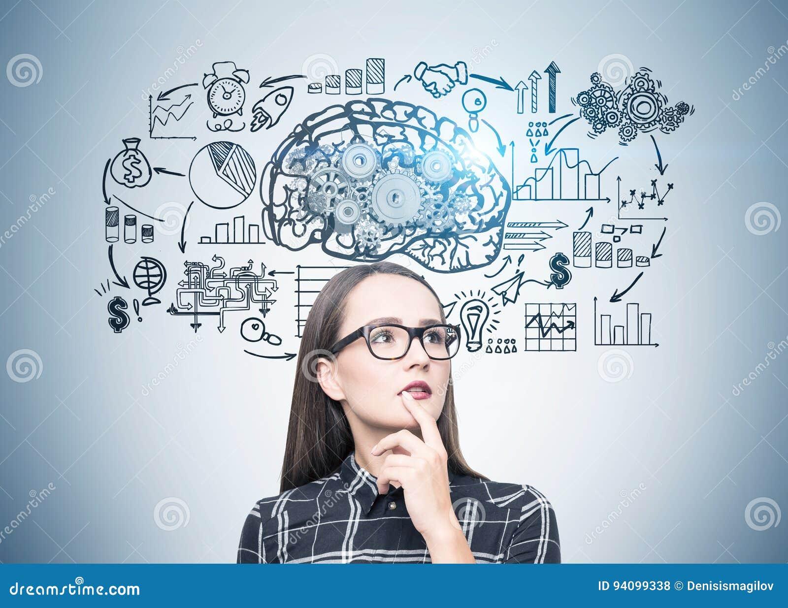 Πορτρέτο ενός κοριτσιού geek στα γυαλιά, σχέδιο εγκεφάλου