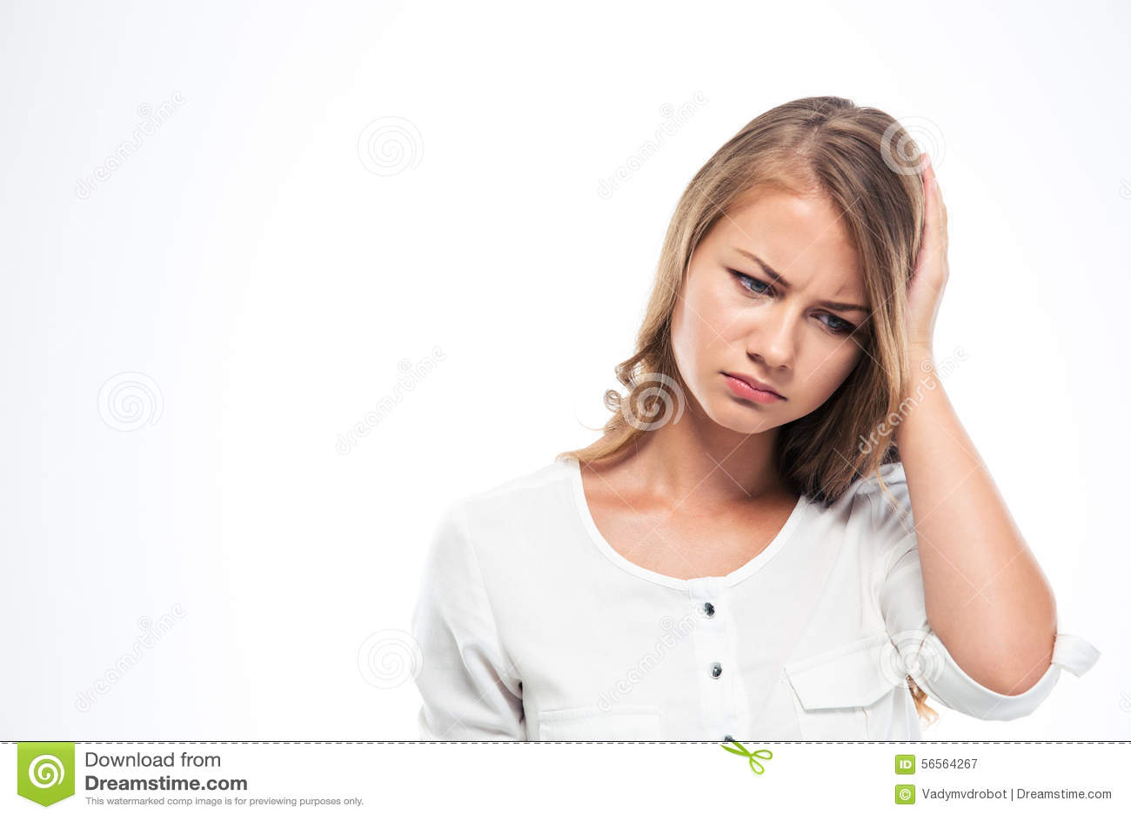 Download Πορτρέτο μιας λυπημένης γυναίκας που έχει Headach Στοκ Εικόνα - εικόνα από συναισθηματικός, πόνος: 56564267