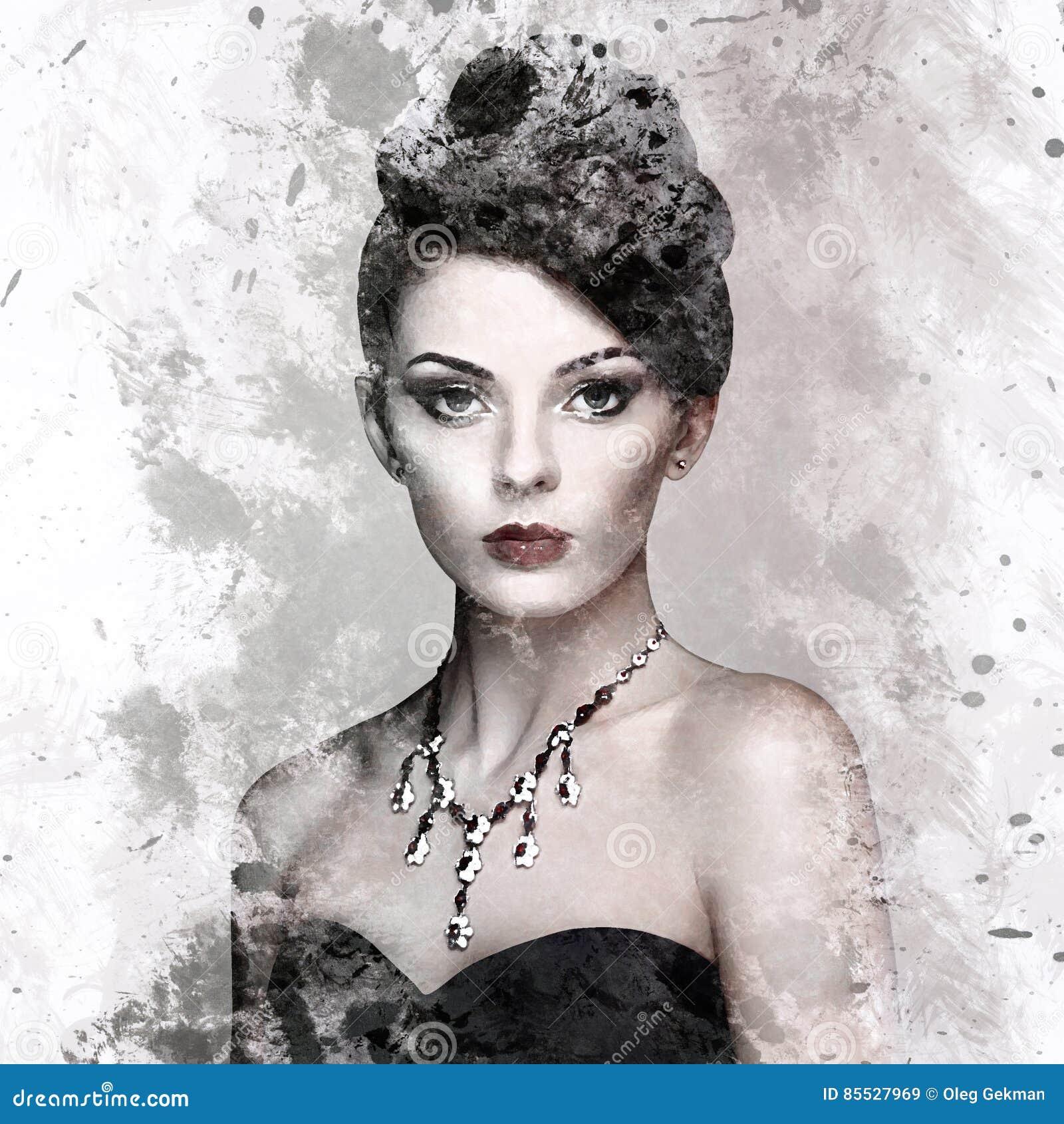 Πορτρέτο μόδας της νέας όμορφης γυναίκας με το κόσμημα