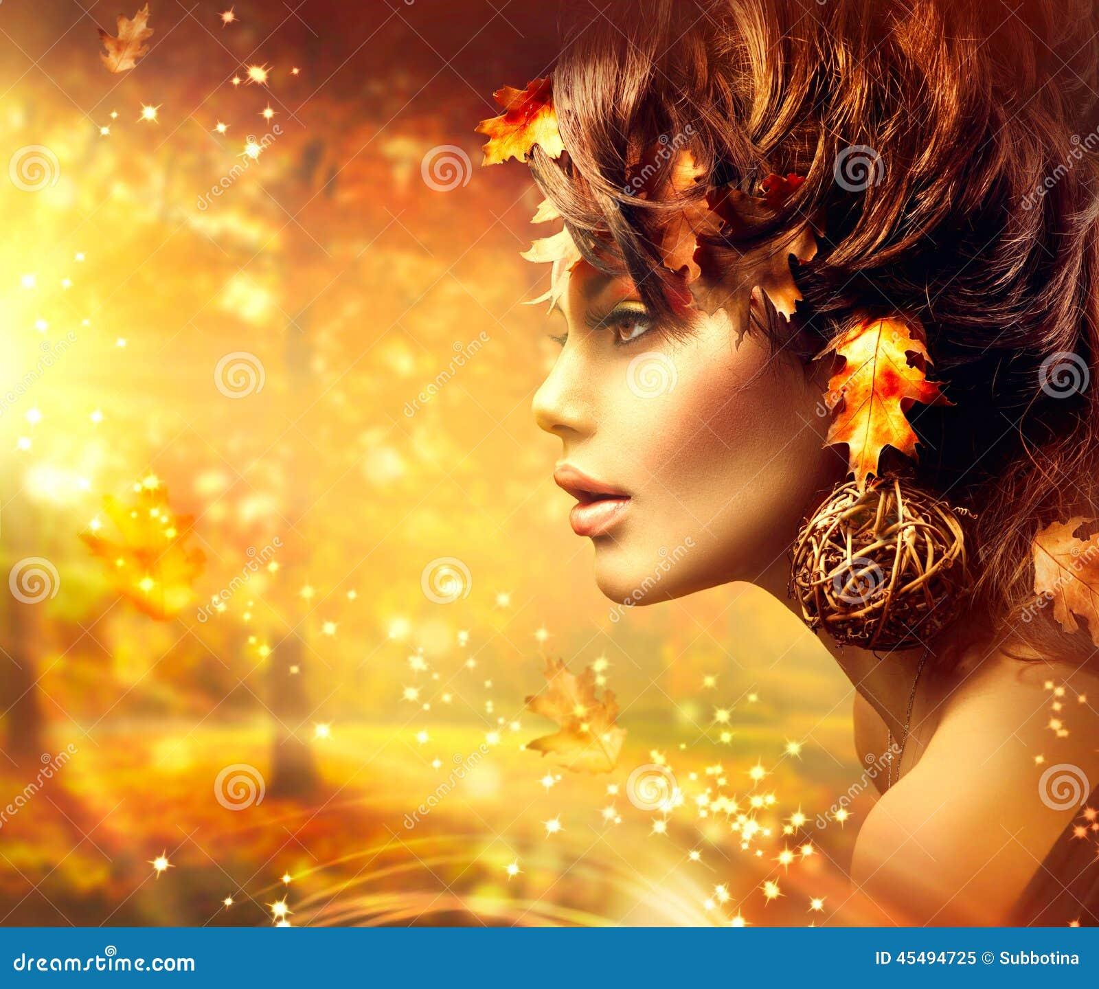 Πορτρέτο μόδας φαντασίας γυναικών φθινοπώρου