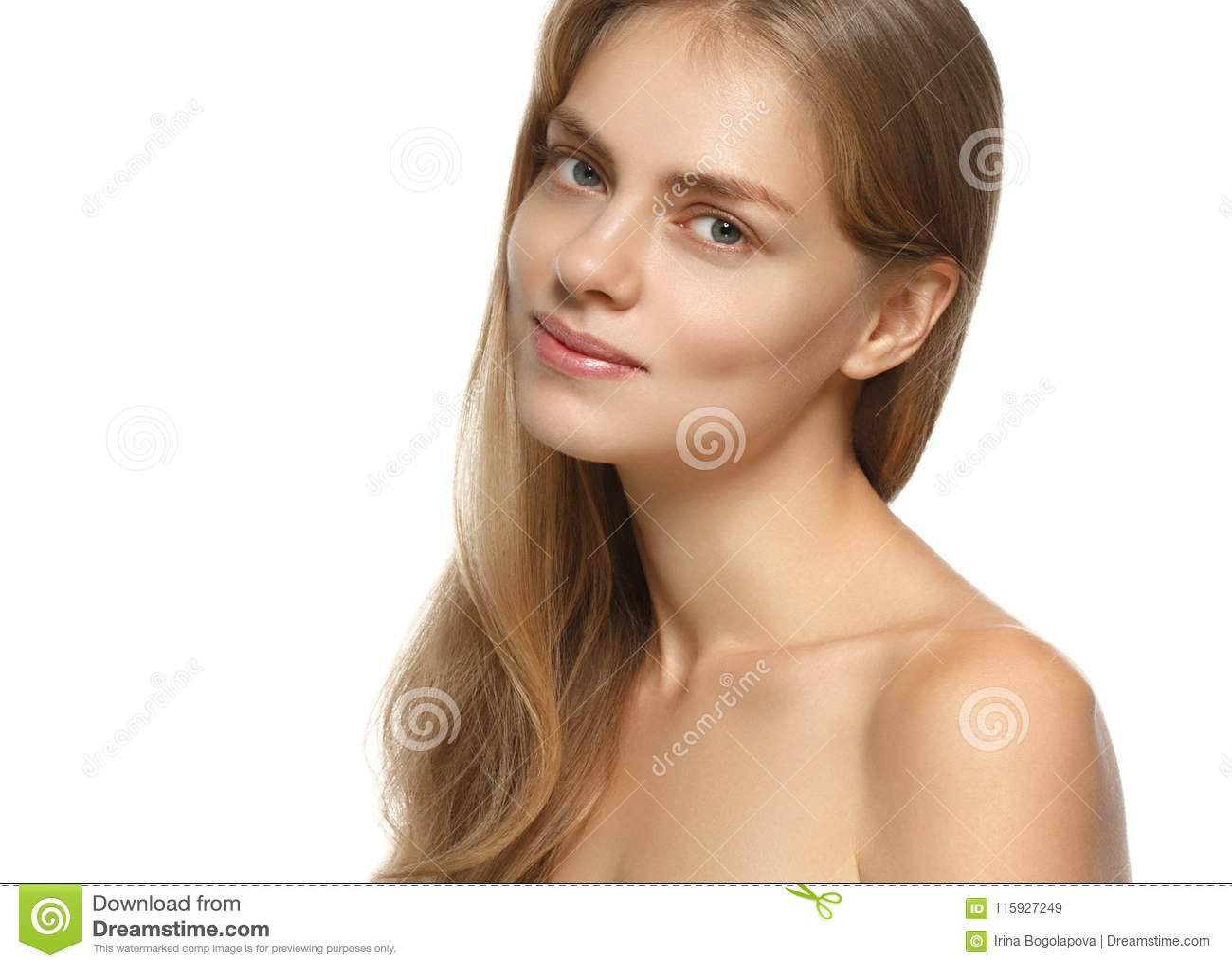 Πορτρέτο προσώπου γυναικών ομορφιάς Όμορφο πρότυπο κορίτσι με τέλειο FR