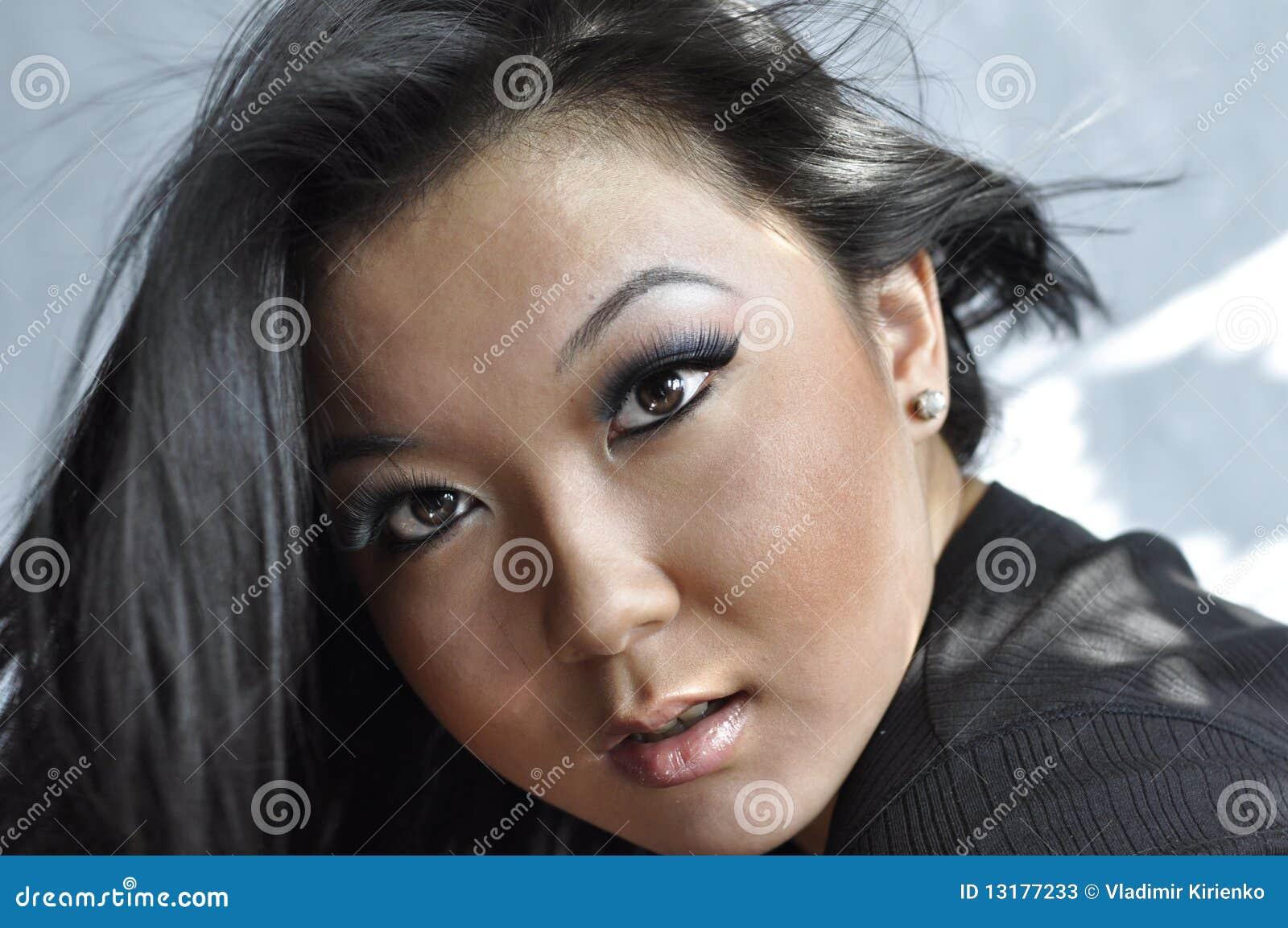 Πορτρέτο της ελκυστικής νέας ασιατικής γυναίκας