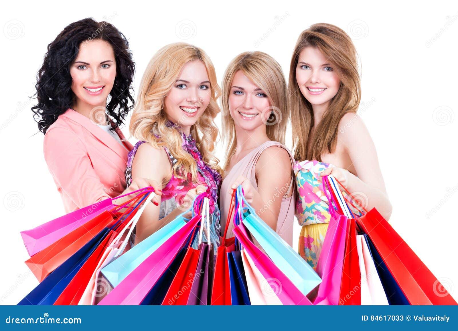 Πορτρέτο της όμορφης ευτυχούς αγοράς γυναικών