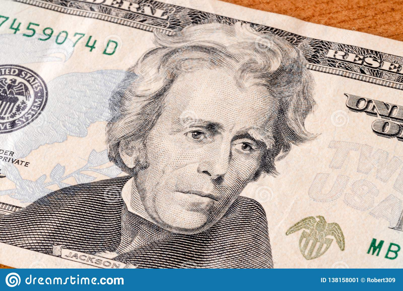 Πορτρέτο του Andrew Τζάκσον στο λογαριασμό είκοσι δολαρίων