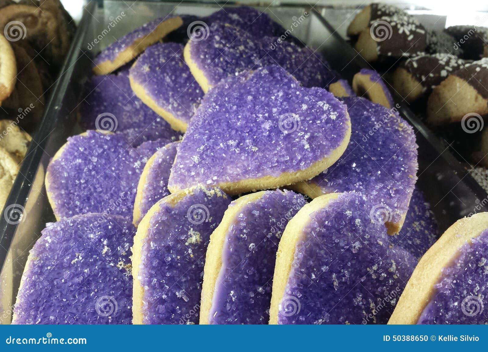 Πορφυρά μπισκότα καρδιών