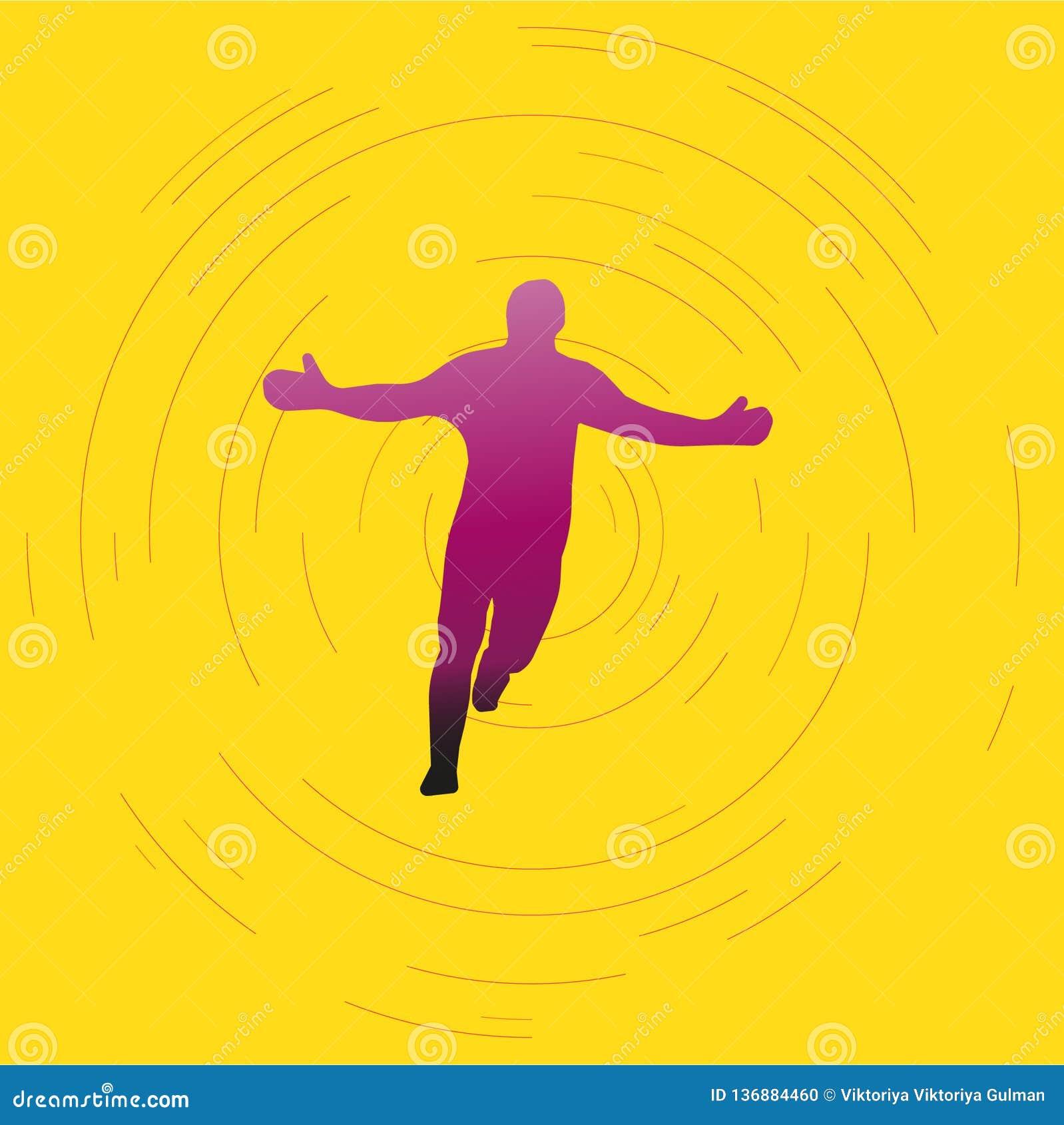 Πορφυρή ιώδης σκιαγραφία του τρέχοντας ατόμου στο φωτεινό υπόβαθρο ευτυχές πρόσωπο νικητών